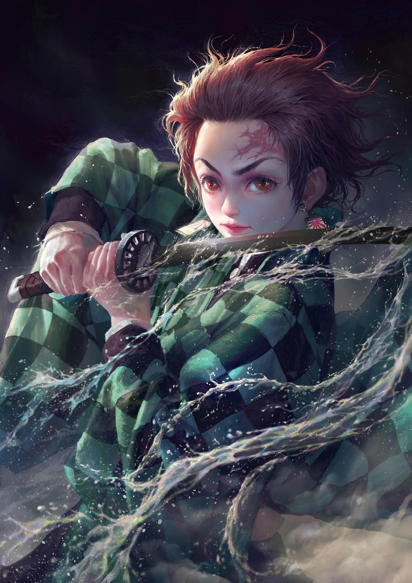 Anime 1414x2000 katana Kimetsu no Yaiba portrait display water digital art digital painting fan art artwork anime drawing Kamado Tanjirō sword dongming yang