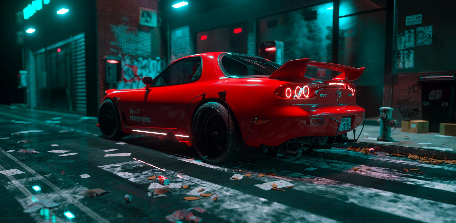 General 1920x939 Mazda RX-7 CGI render red cars vehicle Mazda numbers car synthwave vaporwave