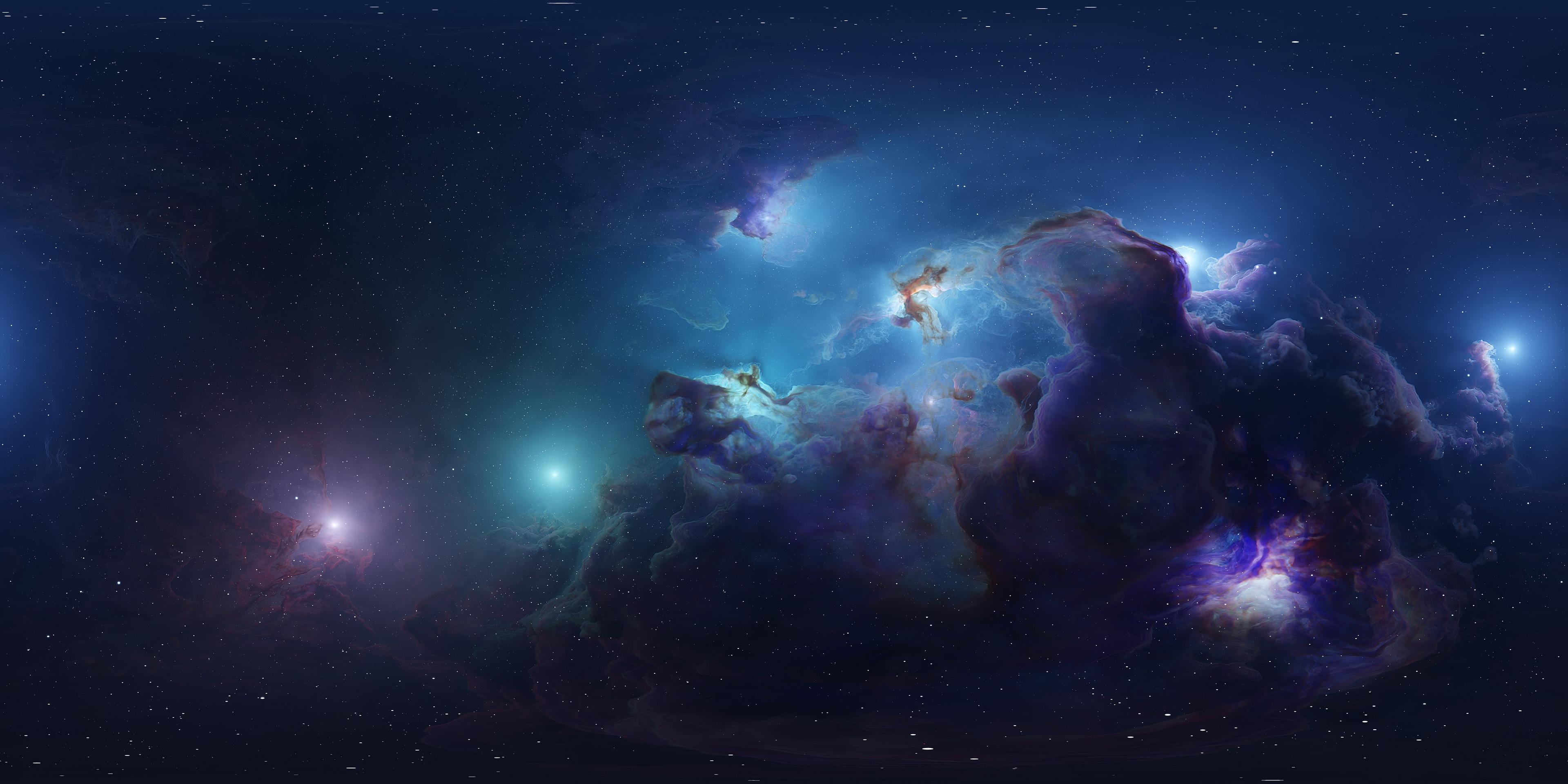 General 3840x1920 ArtStation digital art Tim Barton space nebula space art colorful
