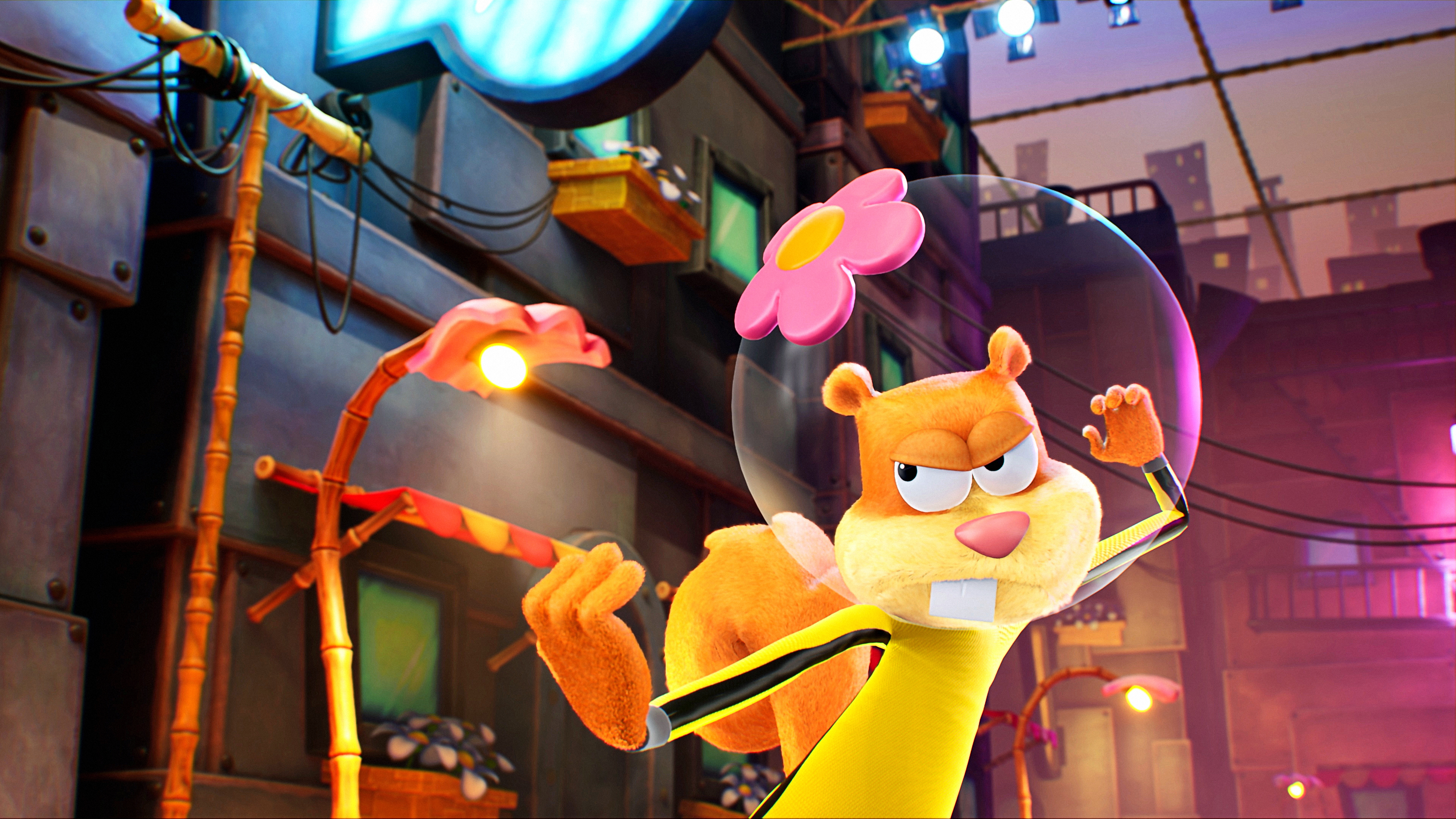 General 3840x2160 SpongeBob SquarePants: The Cosmic Shake SpongeBob SquarePants THQ Nordic Purple Lamp Studios Sandy Cheeks 4K video game art
