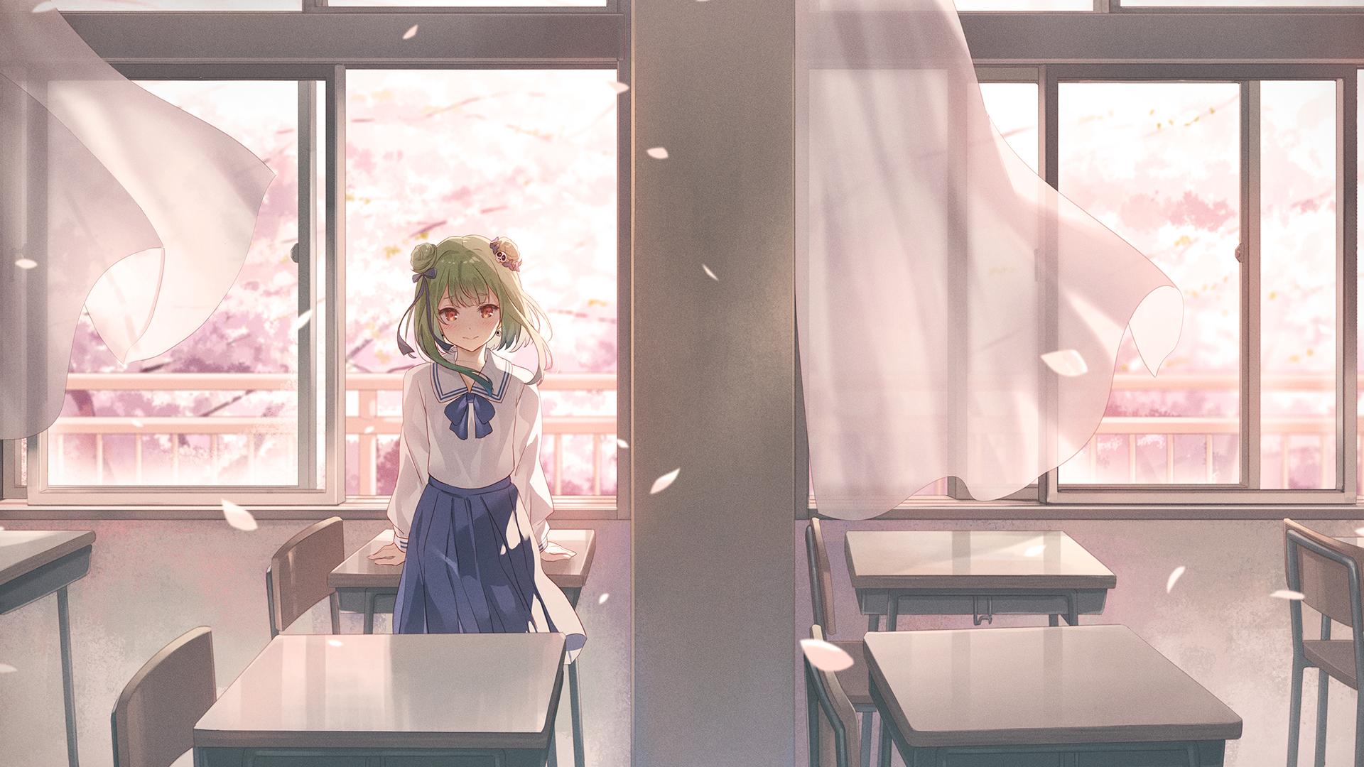 Anime 1920x1080 Uruha Rushia school uniform green hair windy red eyes classroom cherry blossom anime girls artwork Narumi Nanami Hololive Virtual Youtuber