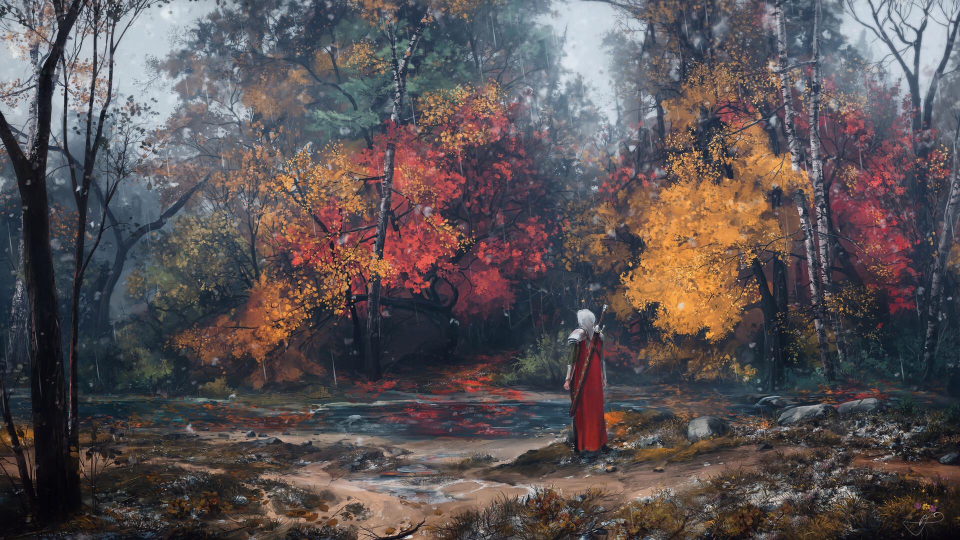 General 1920x1080 Max Suleimanov digital art landscape river lake fall trees