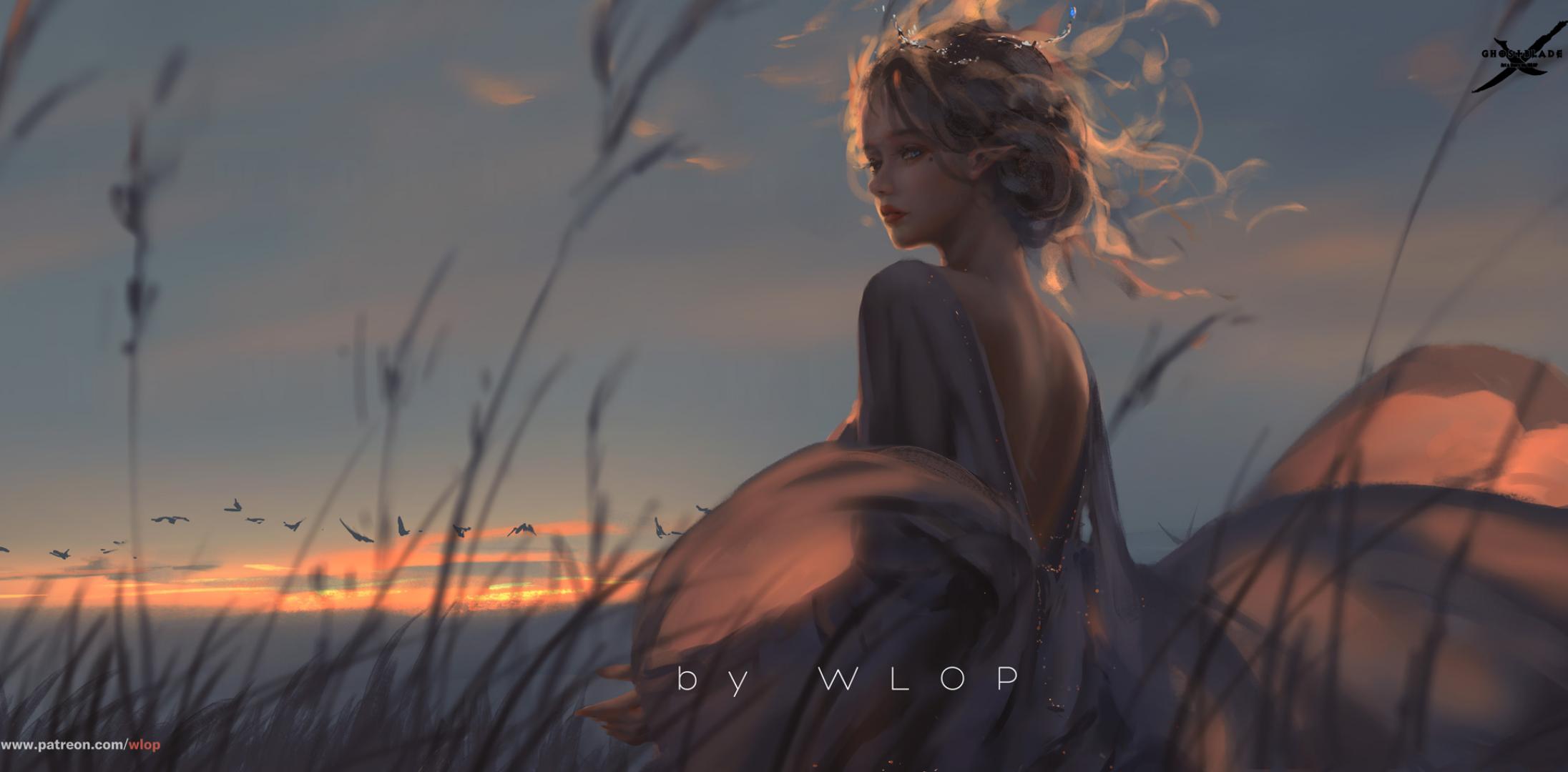 General 2192x1080 digital art fantasy girl sunset sky WLOP Ghostblade elves