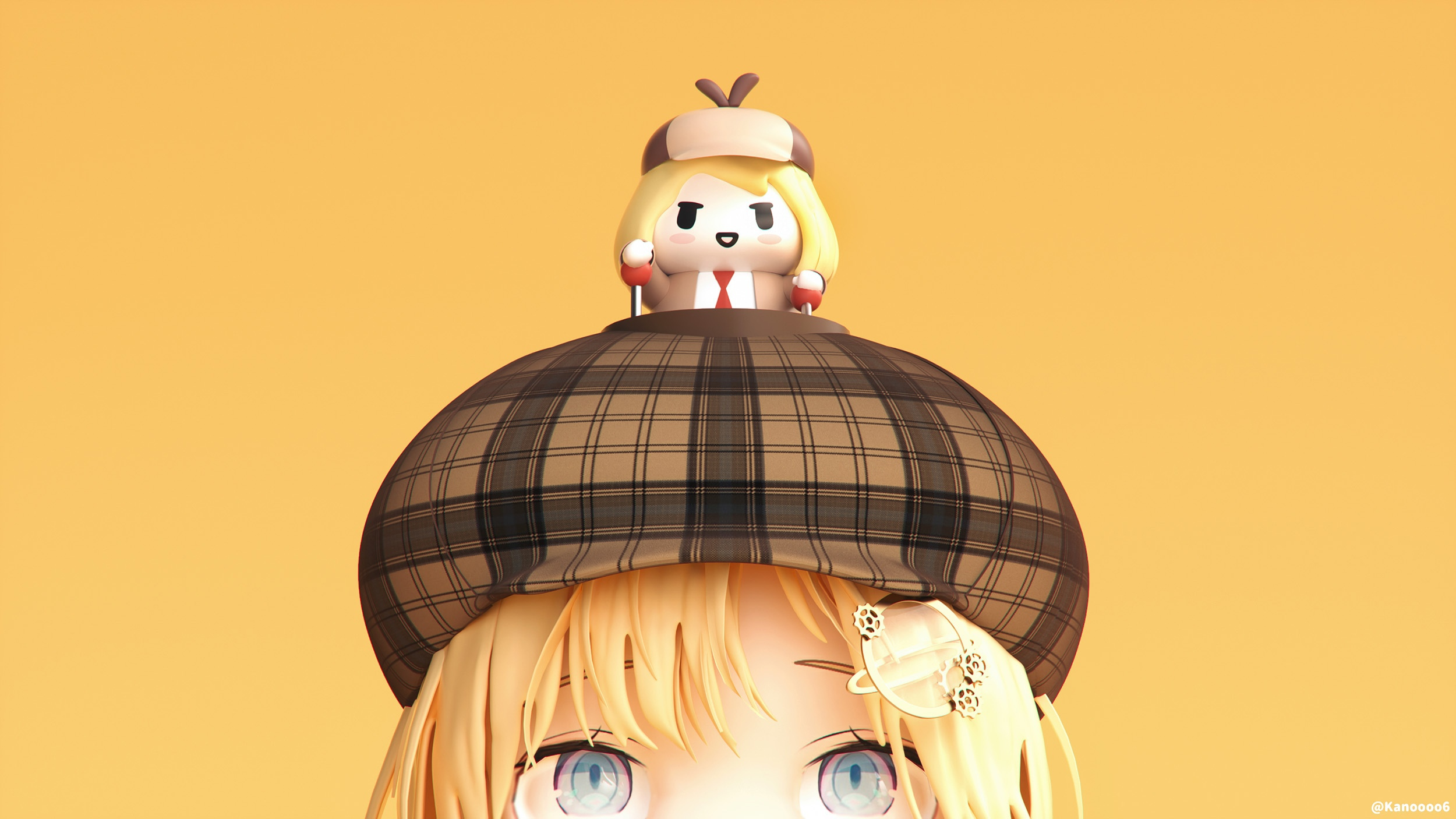 Anime 2500x1406 Hololive yellow hair bangs blue eyes hat yellow background monocles Watson Amelia