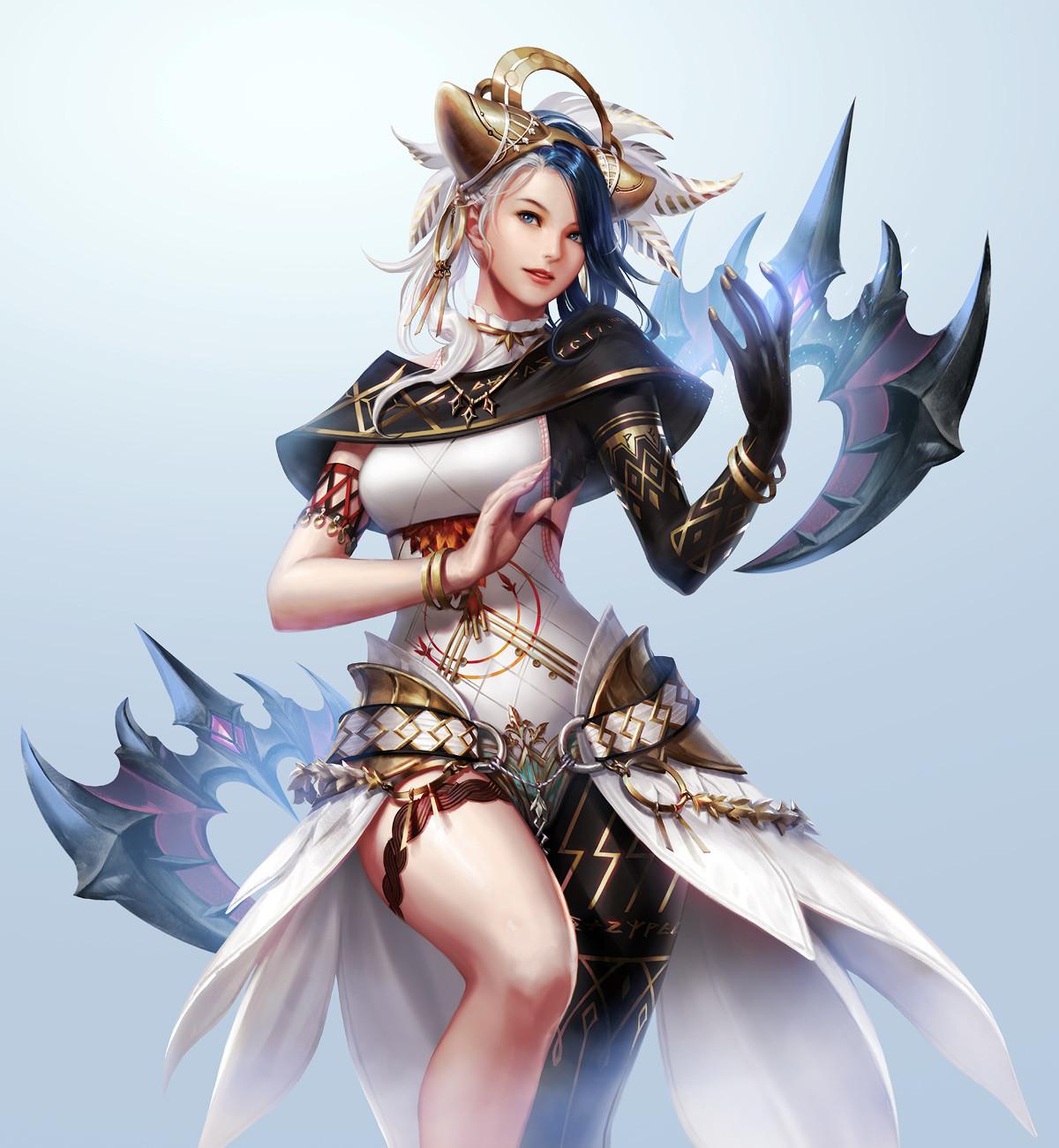 General 1200x1300 Jae-Hoon Kim drawing women hair accessories feathers spell fantasy art dress blue eyes simple background