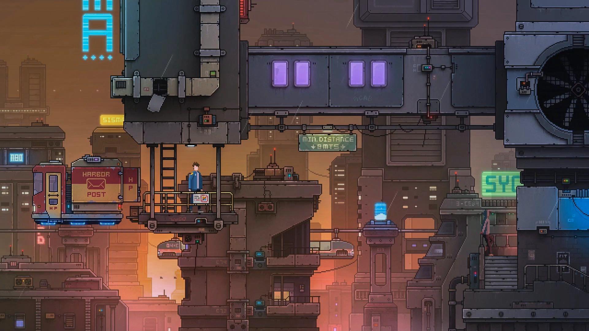 General 1920x1080 Gordon Zuchhold (Artstation) digital art science fiction pixel art city cyberpunk animation futuristic city ArtStation artwork futuristic