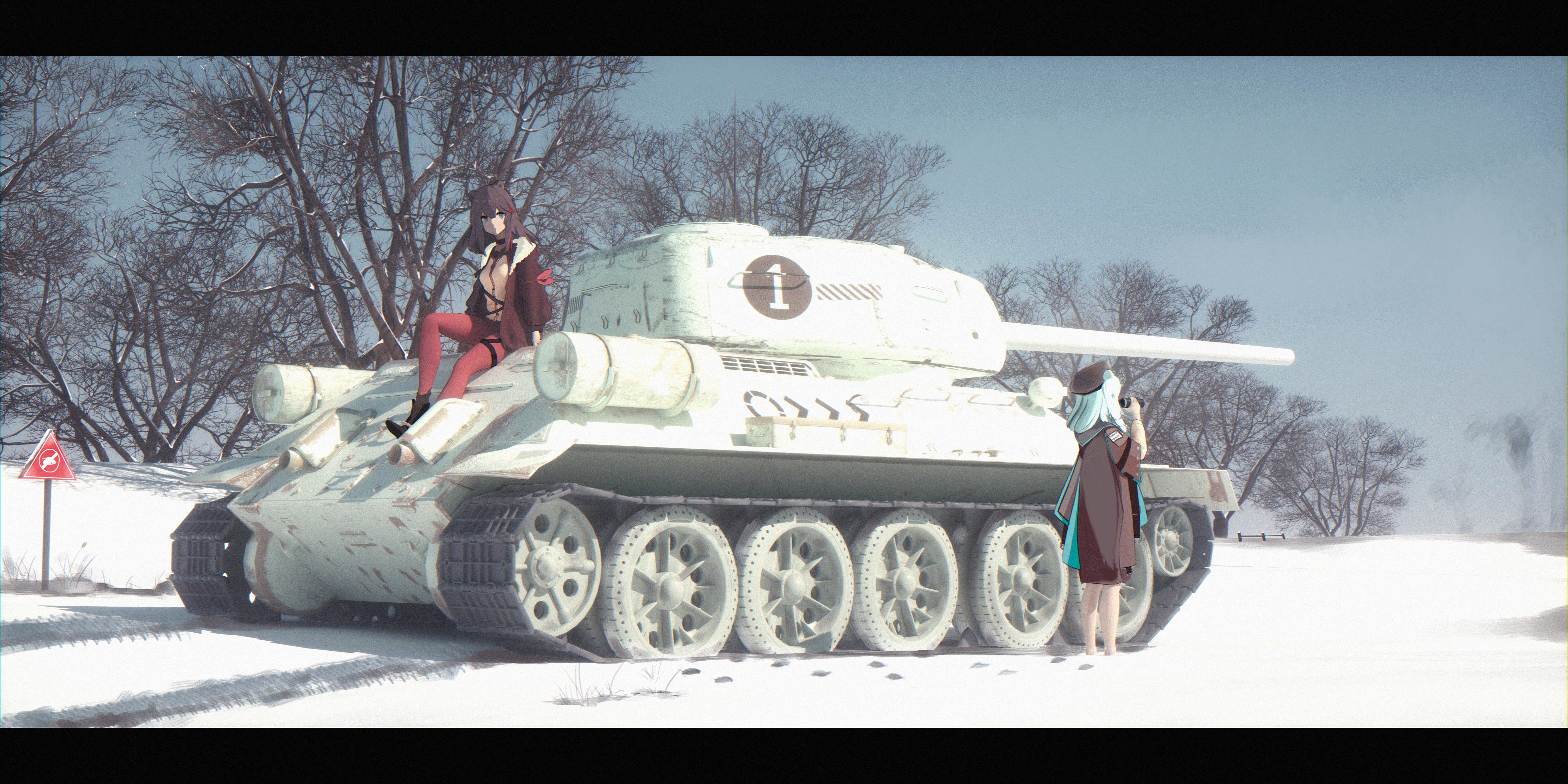Anime 6400x3200 anime girls Bangeningmeng anime Arknights Zima (Arknights) tank T-34-85 T-34/85 Istina (Arknights)