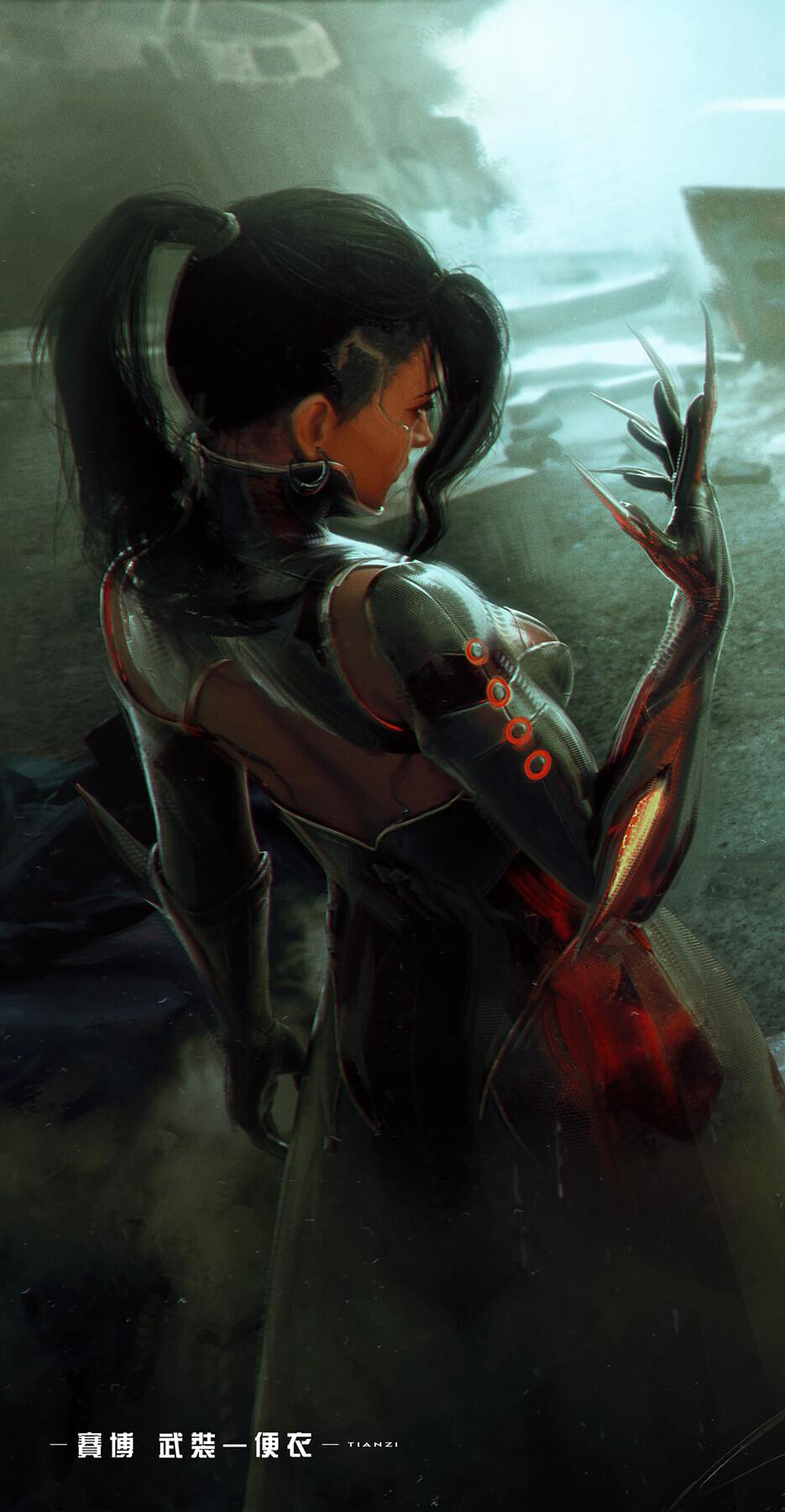 General 935x1800 artwork ArtStation cyberpunk science fiction science fiction women women dark hair claws Tian Zi back fringe hair ponytail profile