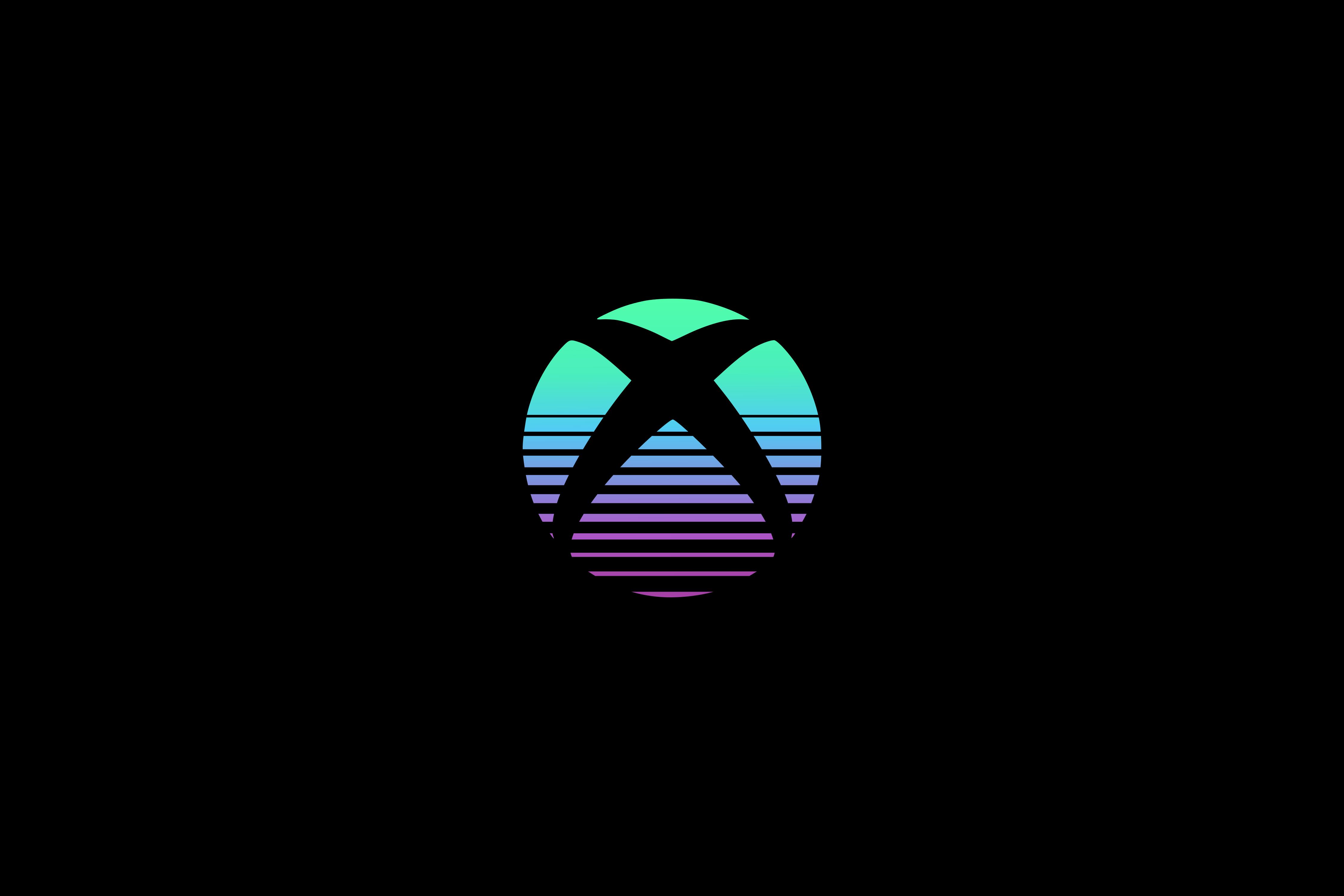 General 4500x3000 Xbox Microsoft consoles logo Retro style simple background gear lines black dark
