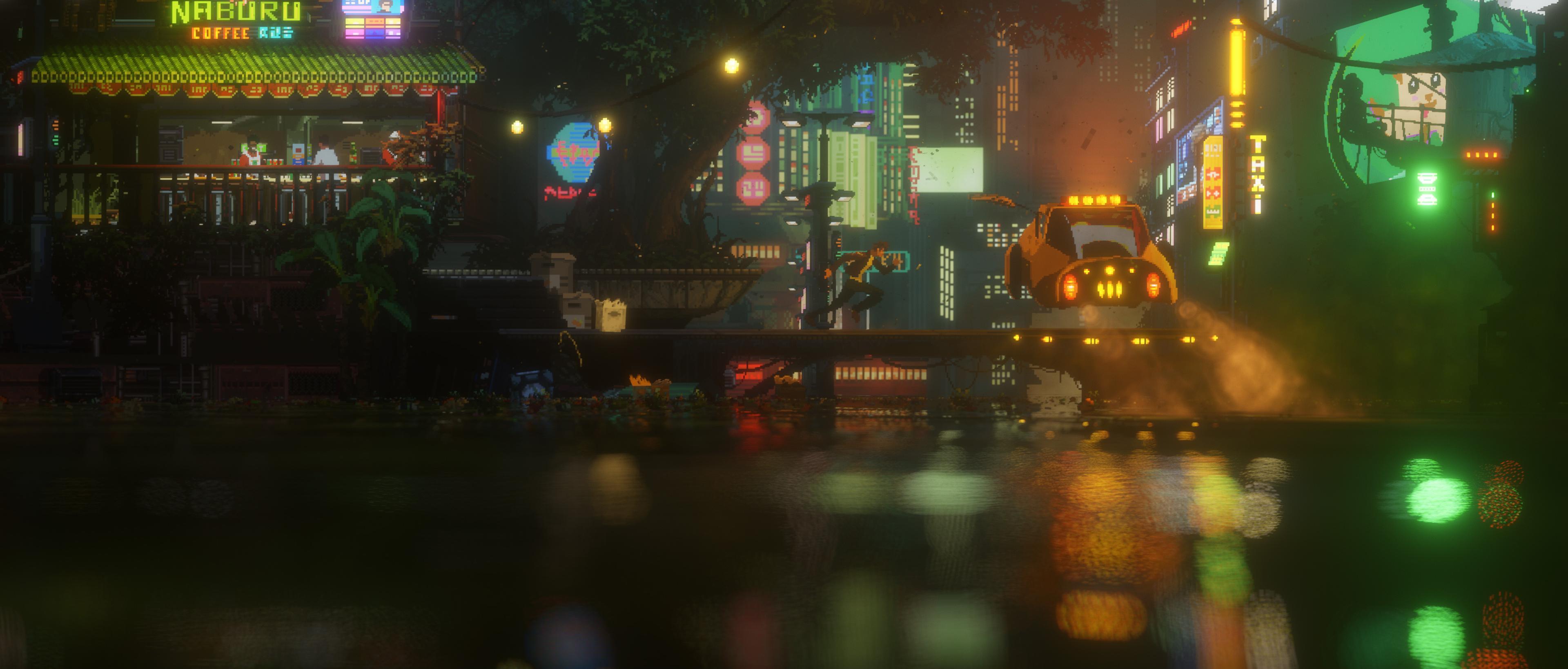General 3840x1638 cyberpunk video games pixel art The Last Night