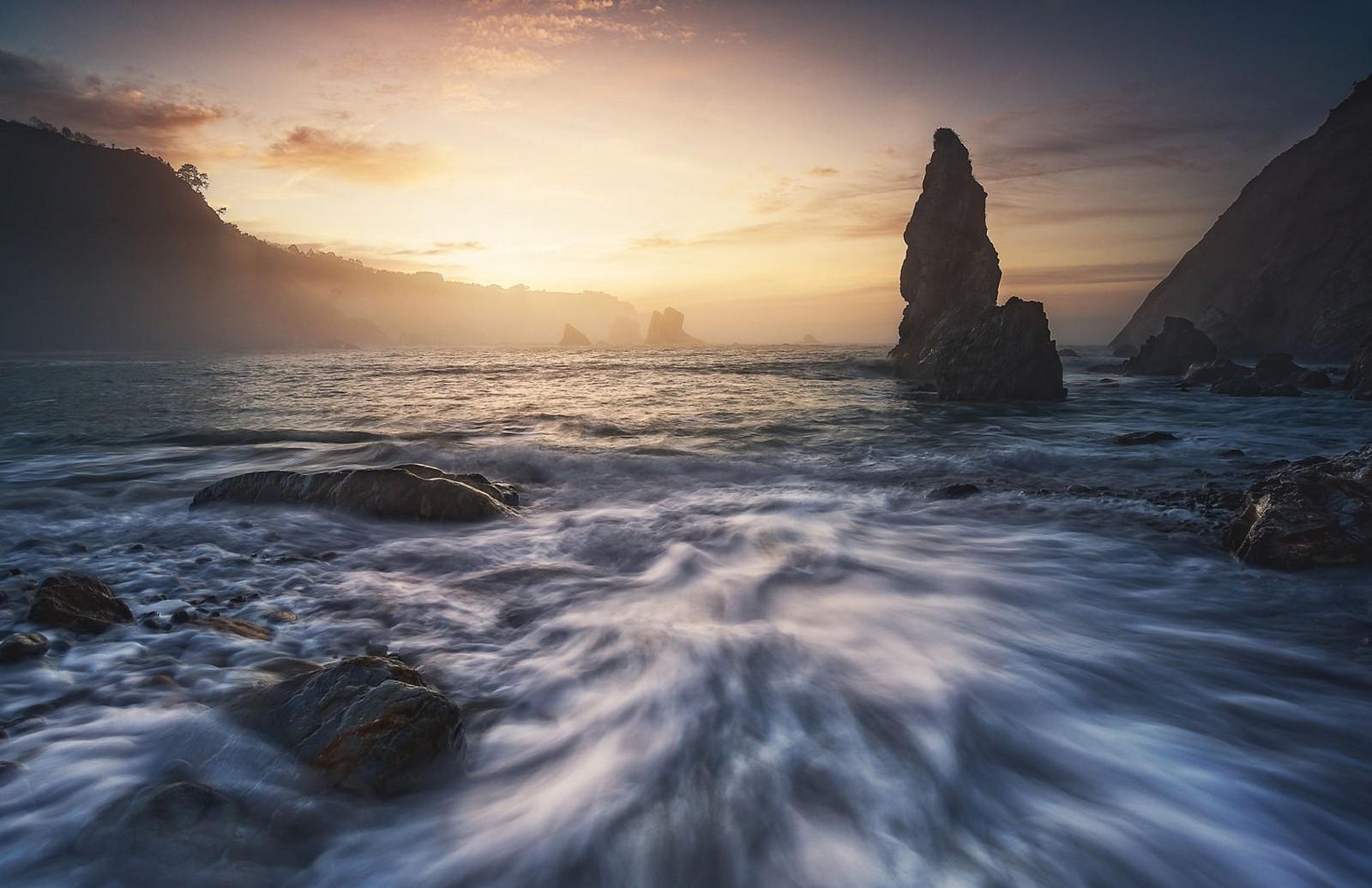 General 1600x1037 photography landscape nature beach rock hills sea Spain long exposure
