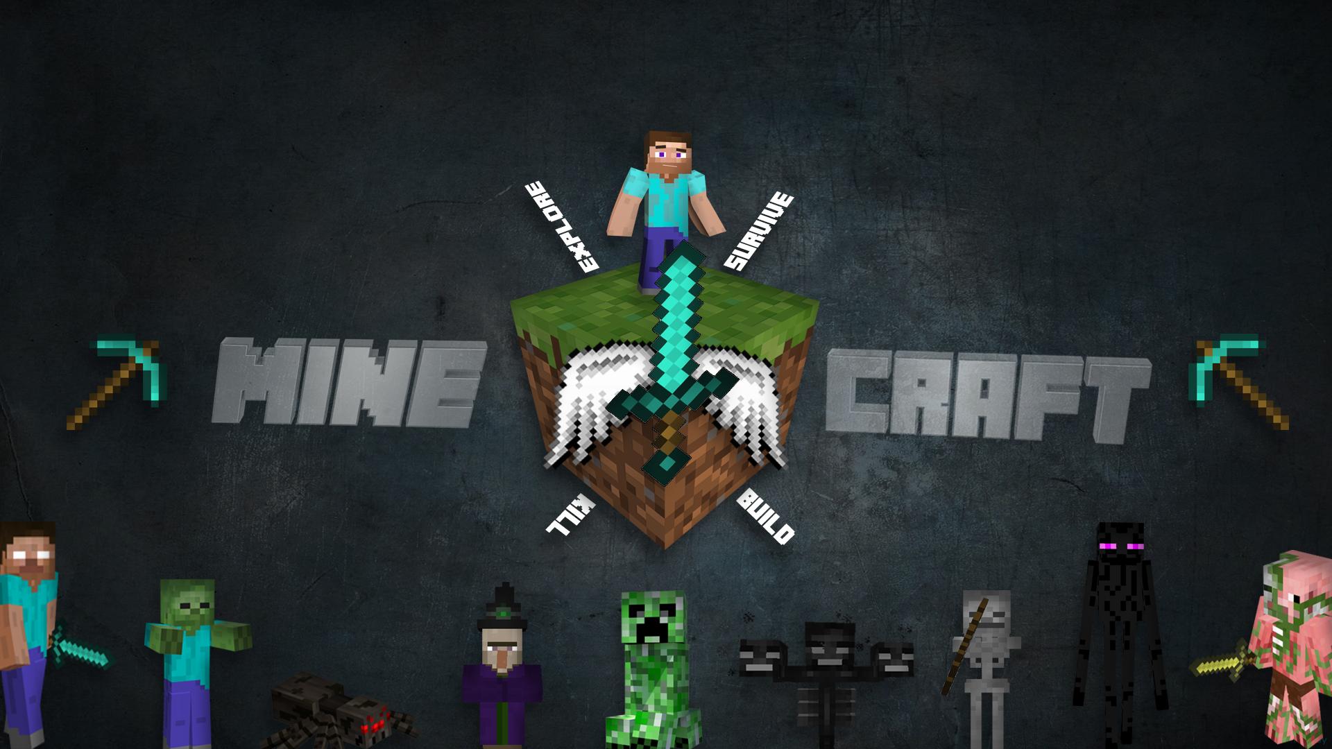 General 1920x1080 Minecraft Herobrine sword Steve craft 3D Blocks adventurers