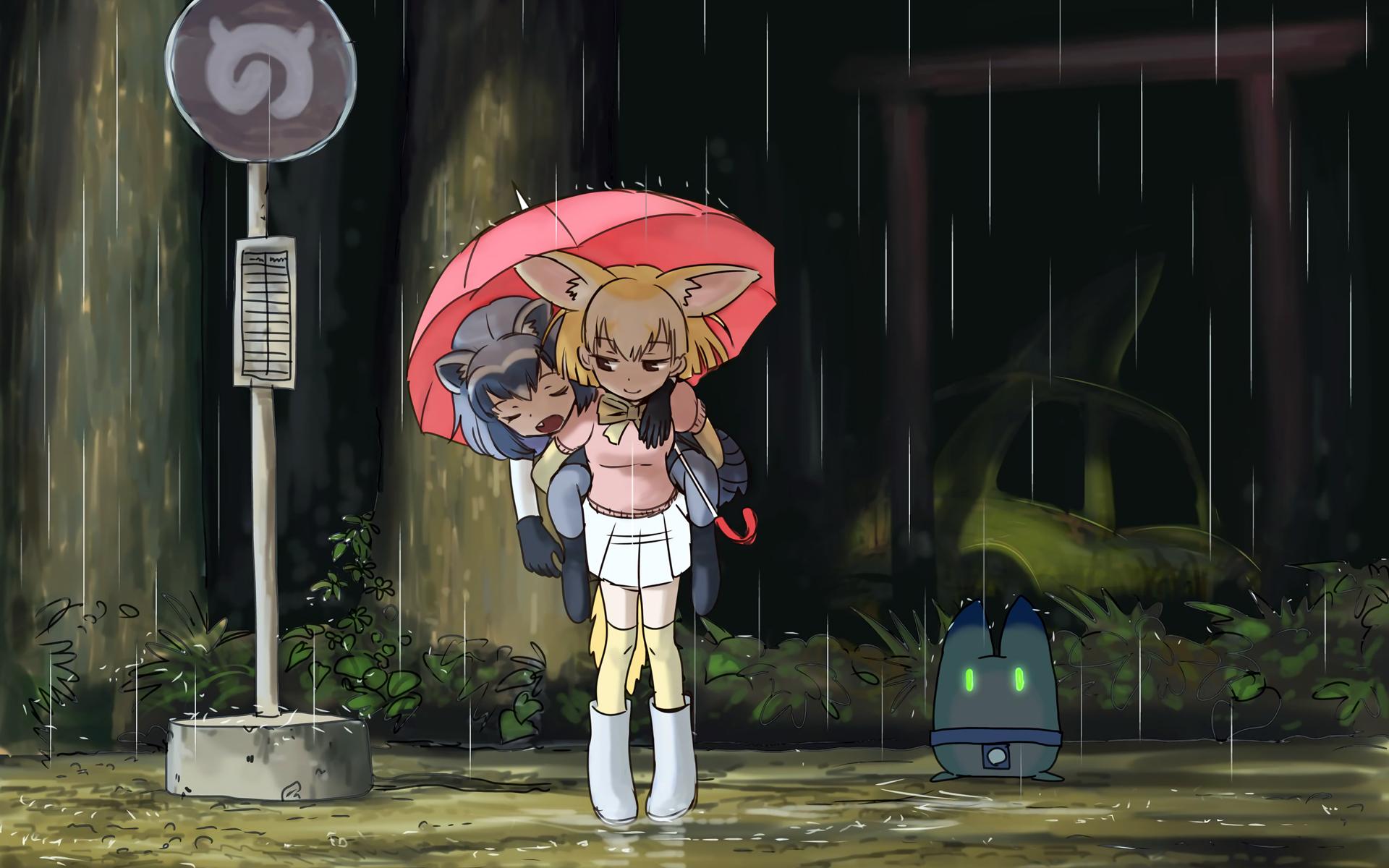 Anime 1920x1200 Kemono Friends Silver fox (Kemono friends) Red fox (Kemono friends) Lucky Beast (Kemono Friends) My Neighbor Totoro bus stop rain thigh-highs red umbrella robot sleepy animal ears tail waifu2x