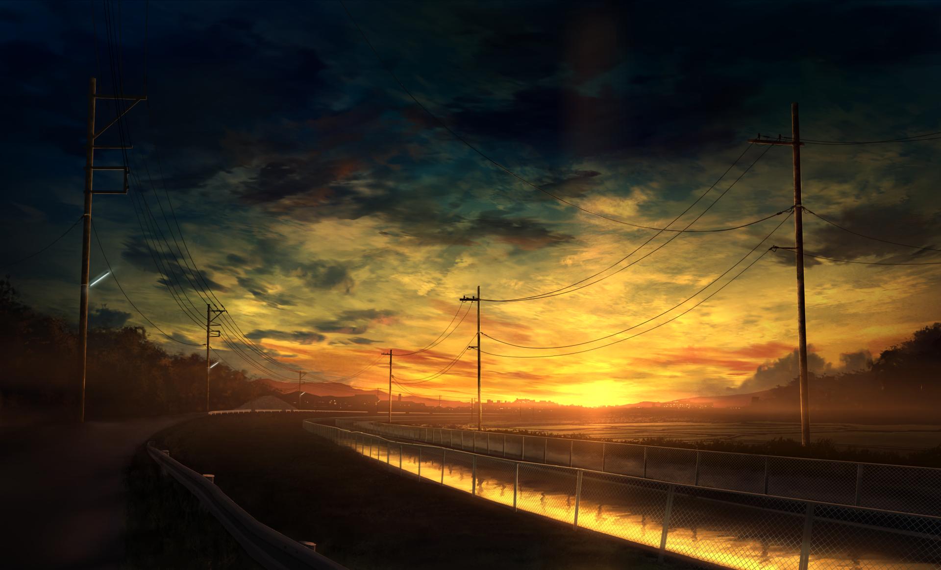 General 1920x1164 clouds landscape road sky sunset water anime Sun sunlight power lines dark