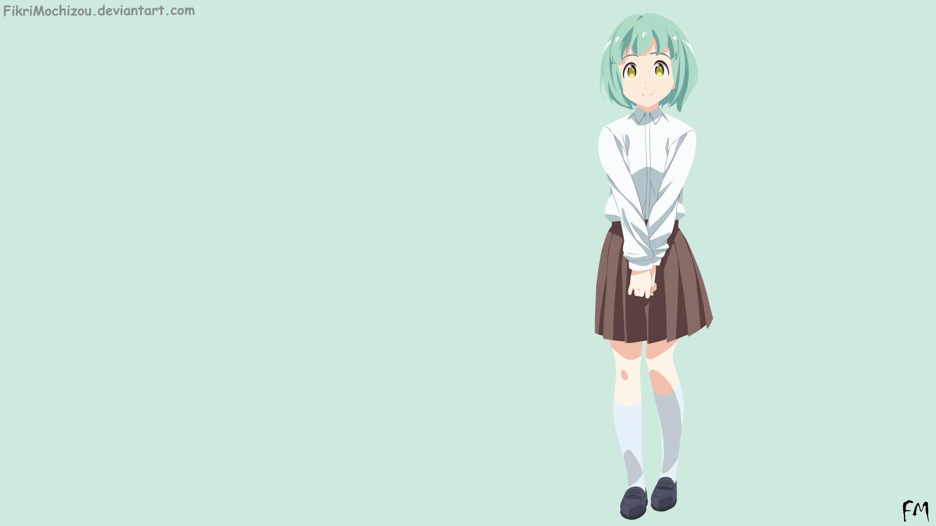 Anime 1920x1080 Demi-chan wa Kataritai anime girls simple background DeviantArt green hair yellow eyes anime socks