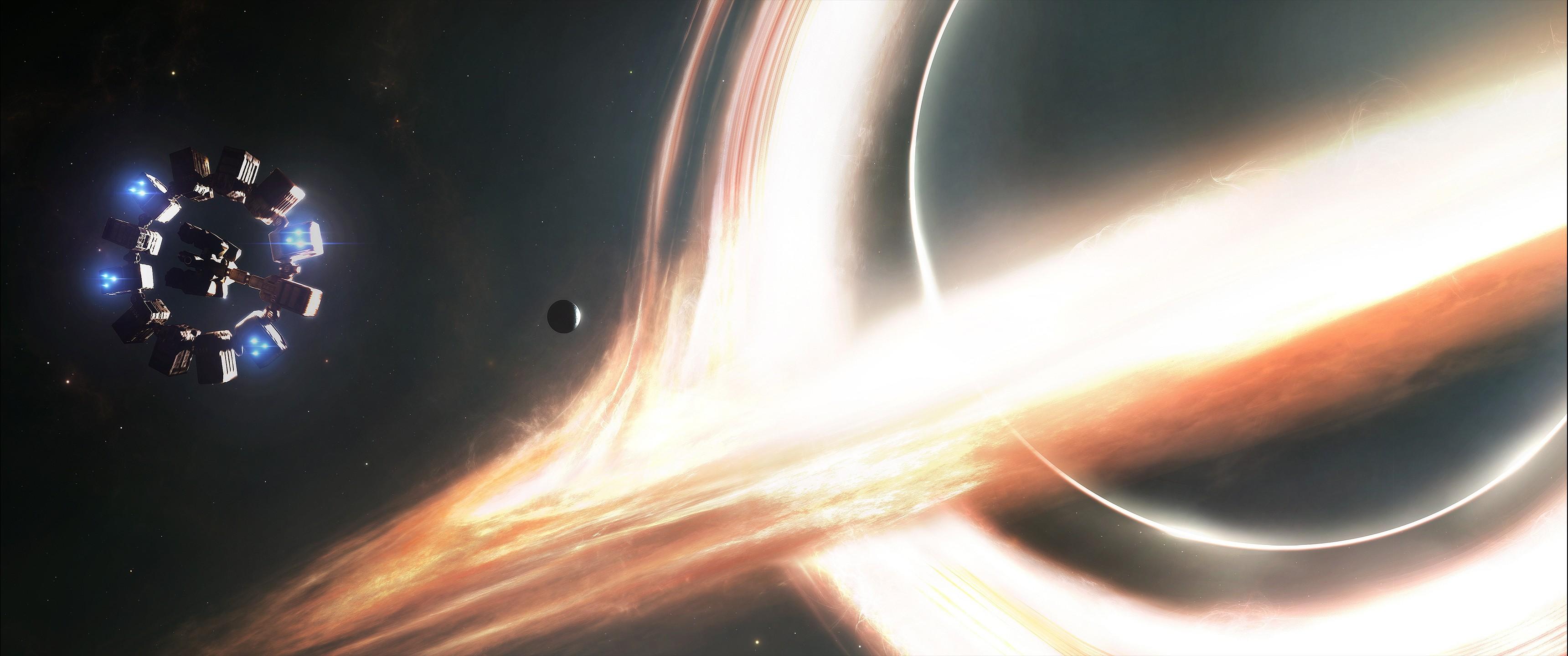 General 3440x1440 black holes Interstellar (movie) movies science fiction