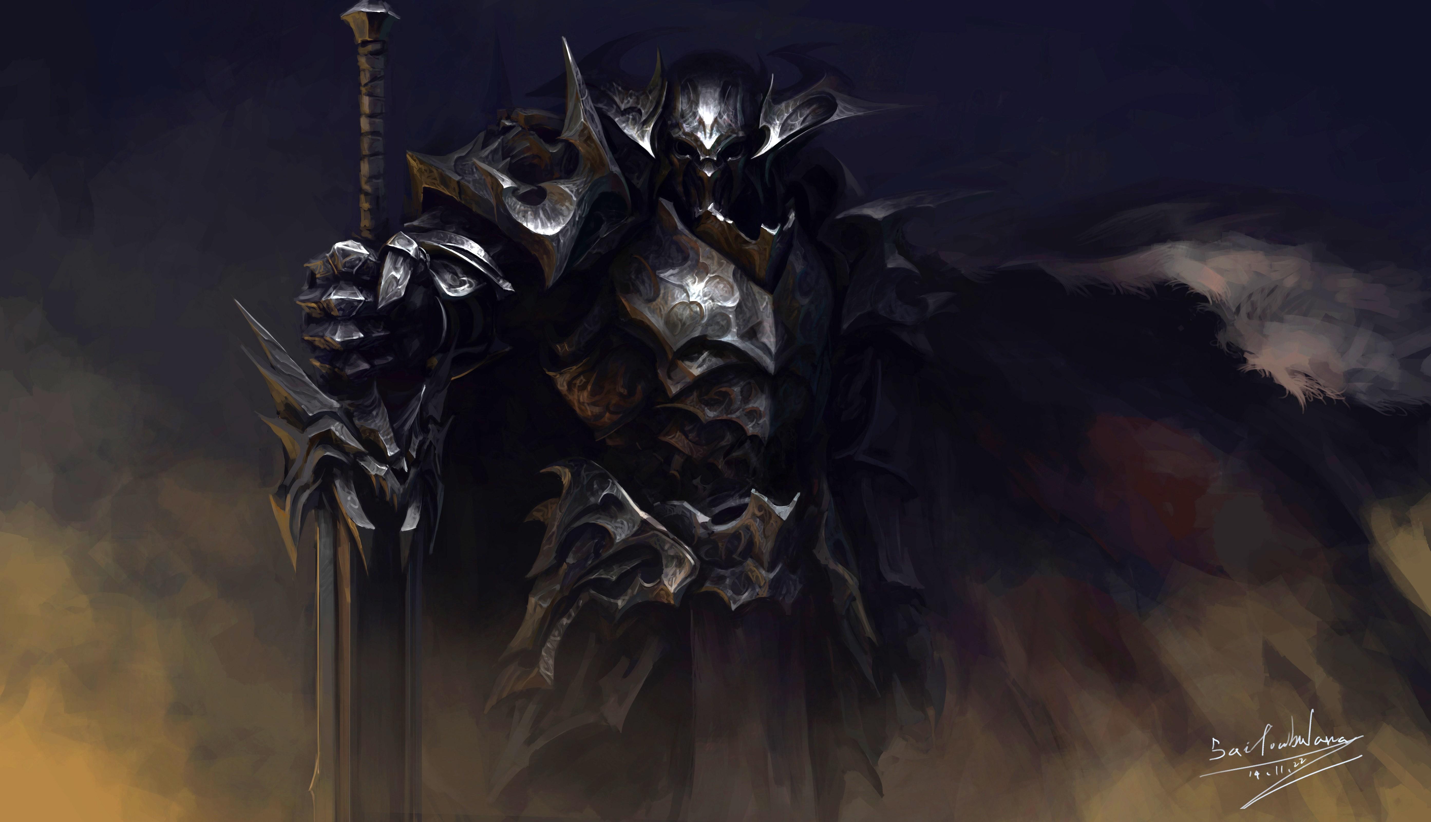 General 5573x3201 armor knight dark background fantasy art frontal view