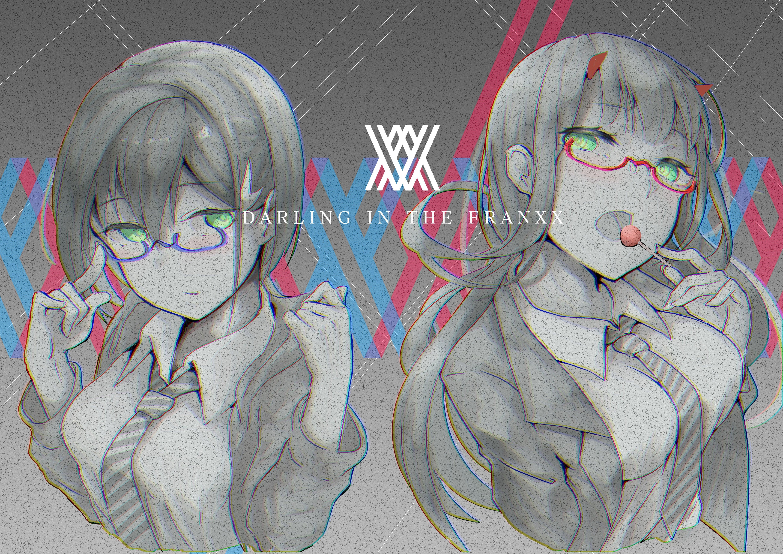 Anime 4960x3508 Darling in the FranXX anime girls Zero Two (Darling in the FranXX) Ichigo (Darling in the FranXX)