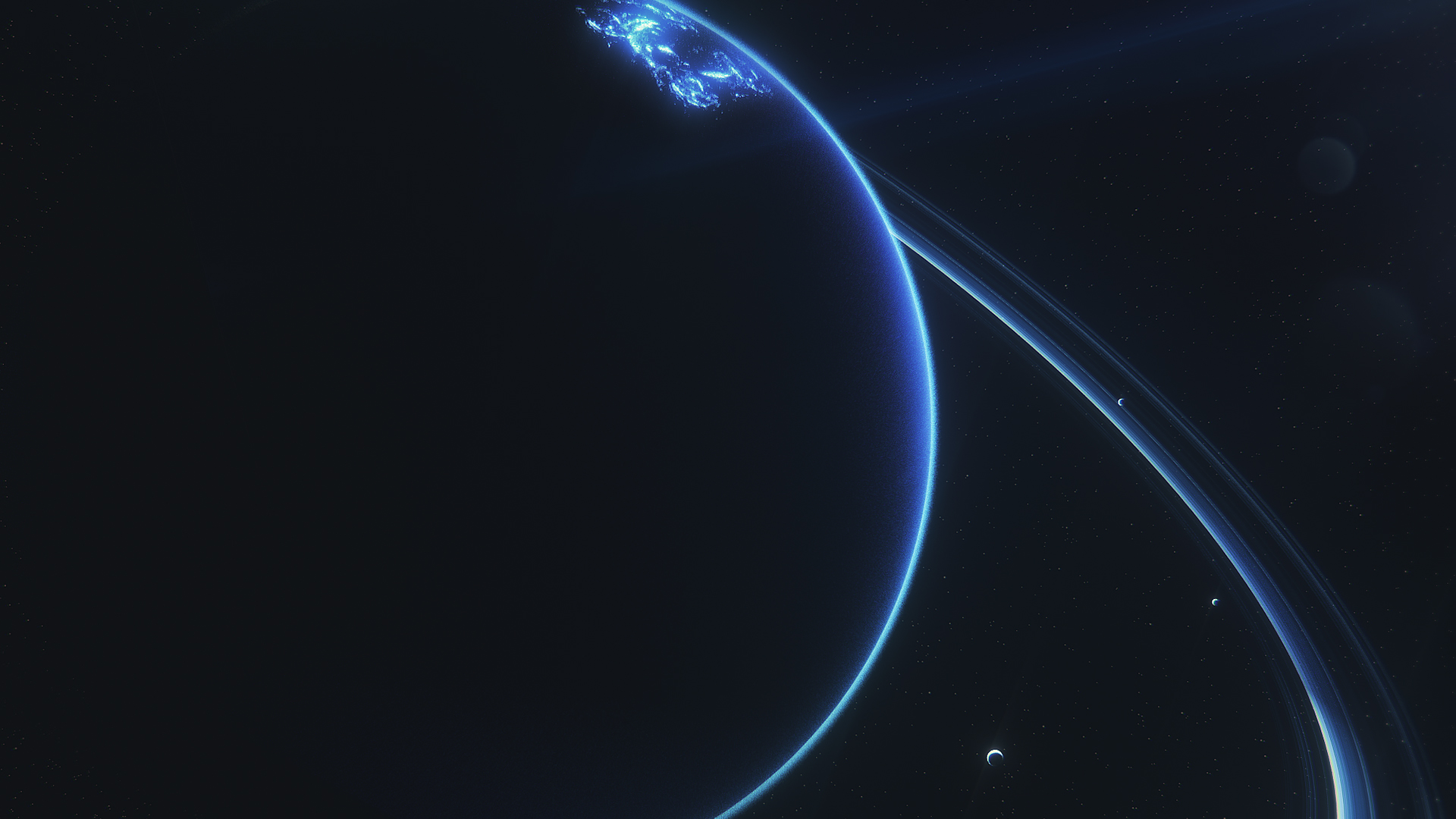 General 1920x1080 space planet planetary rings blue space art digital art