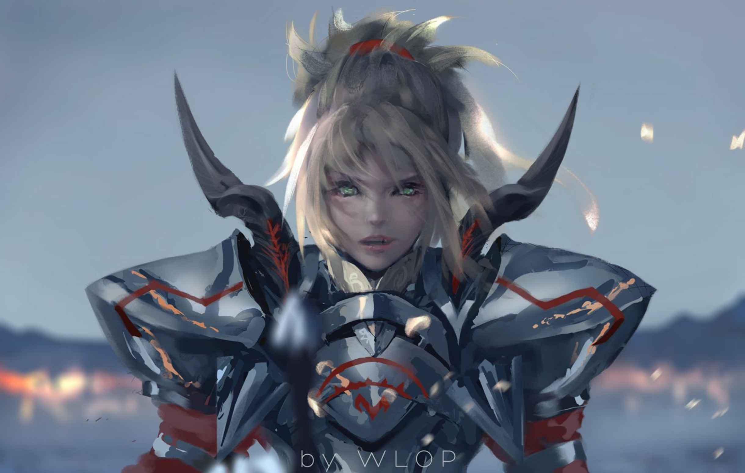 Anime 2441x1551 digital art artwork WLOP armor looking at viewer green eyes Fate Series Fate/Apocrypha  Fate/Grand Order Mordred (Fate/Apocrypha) ponytail female warrior 2D fan art blonde