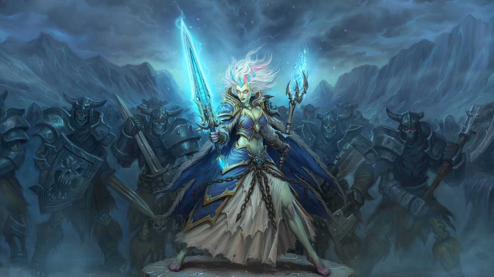 General 1920x1080 Hearthstone: Heroes of Warcraft Hearthstone Warcraft cards artwork Knights of the frozen throne Death Knight Jaina Proudmoore video games