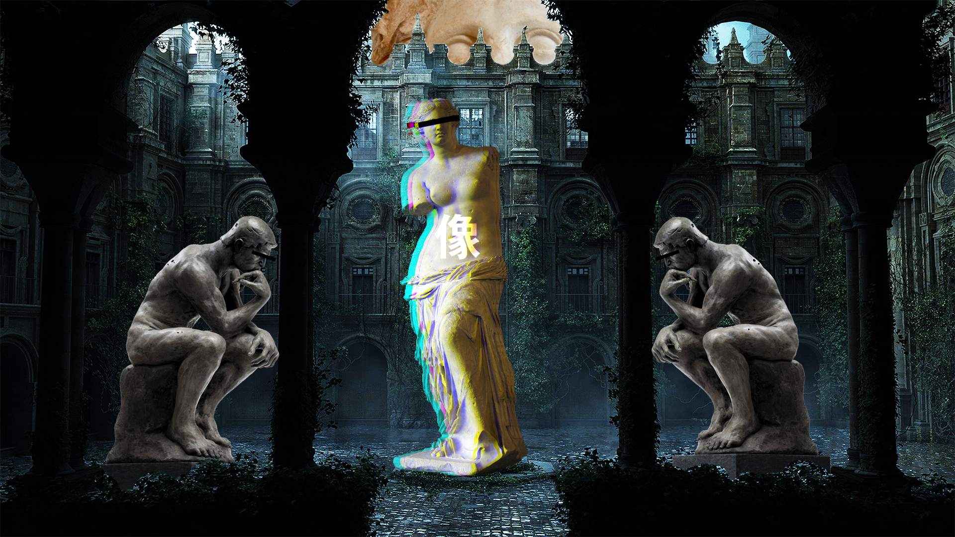 General 1920x1080 neon statue courtyard Europe vaporwave glitch art