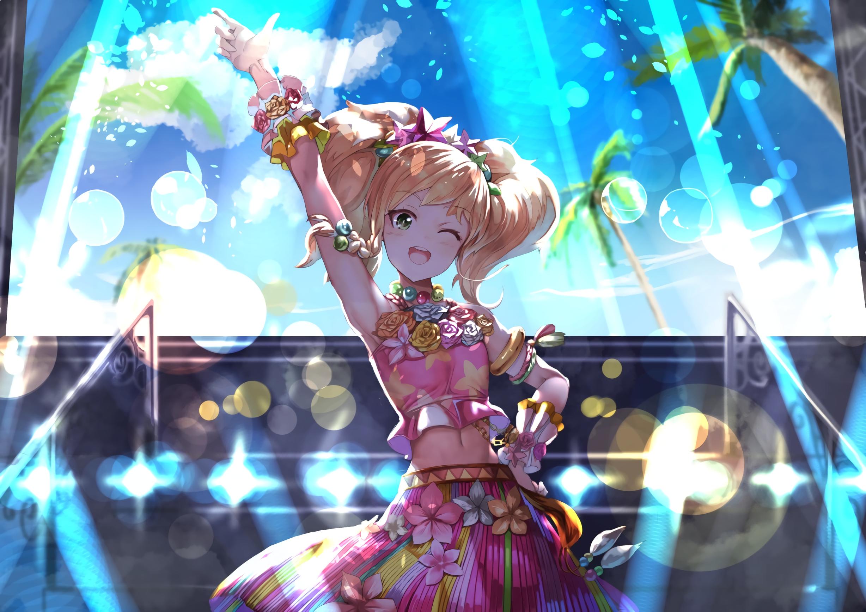 Anime 2456x1736 anime anime girls Aikatsu! blonde clouds flowers green eyes long hair sky twintails