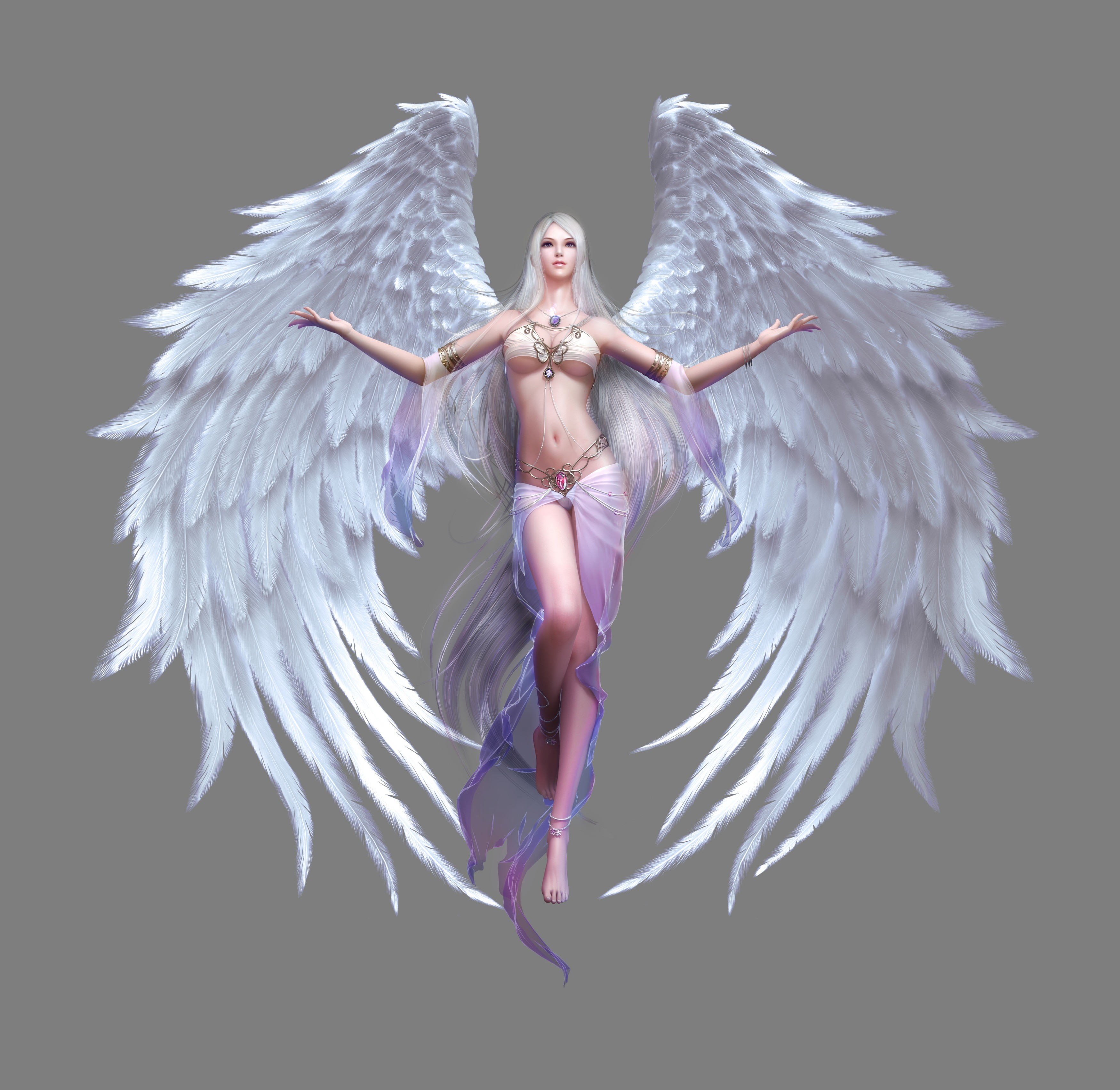 Perfect beautiful blonde lady with angels wings smiling stock photo
