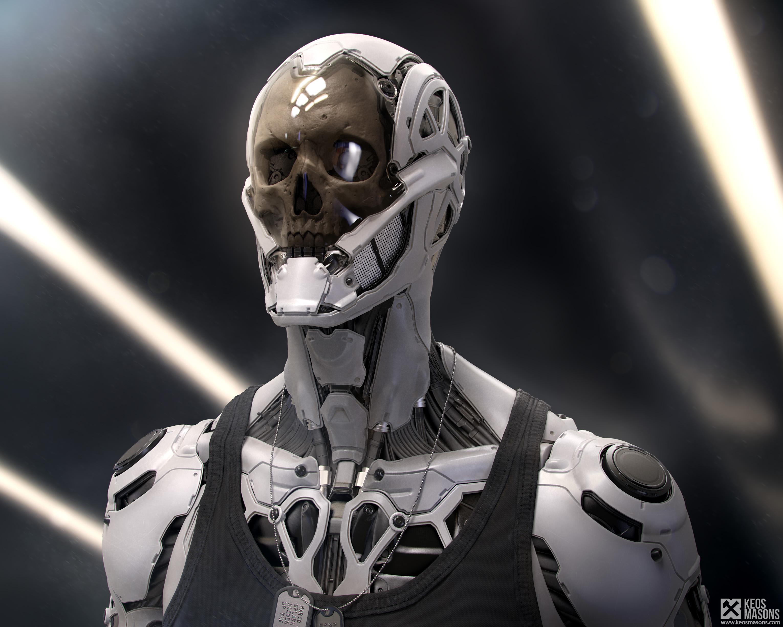 General 3060x2448 skull futuristic machine cyborg digital art