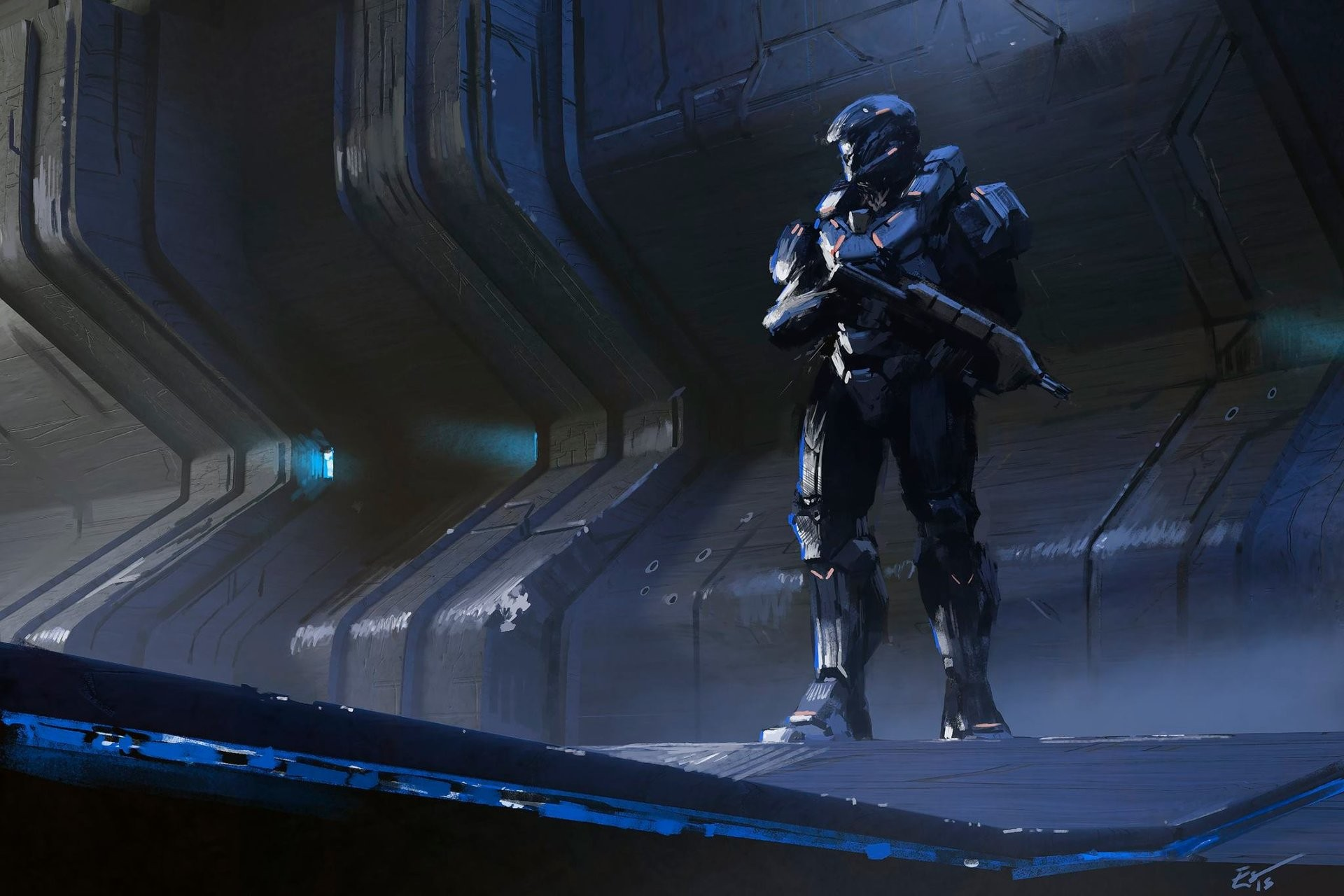 General 1920x1280 fantasy art Espen Saetervik artwork soldier futuristic science fiction gun Halo Spartans (Halo)