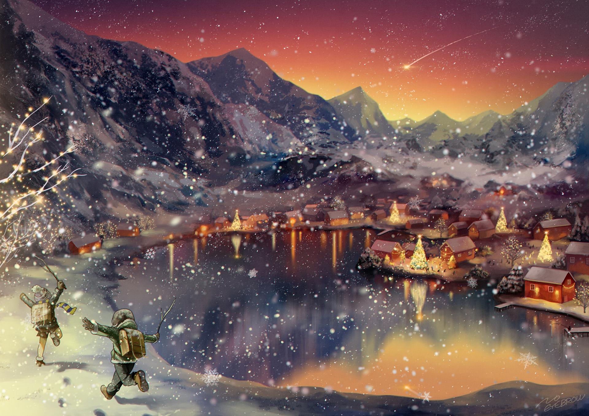 Anime 1920x1356 anime artwork winter mountains landscape lake sunset Christmas