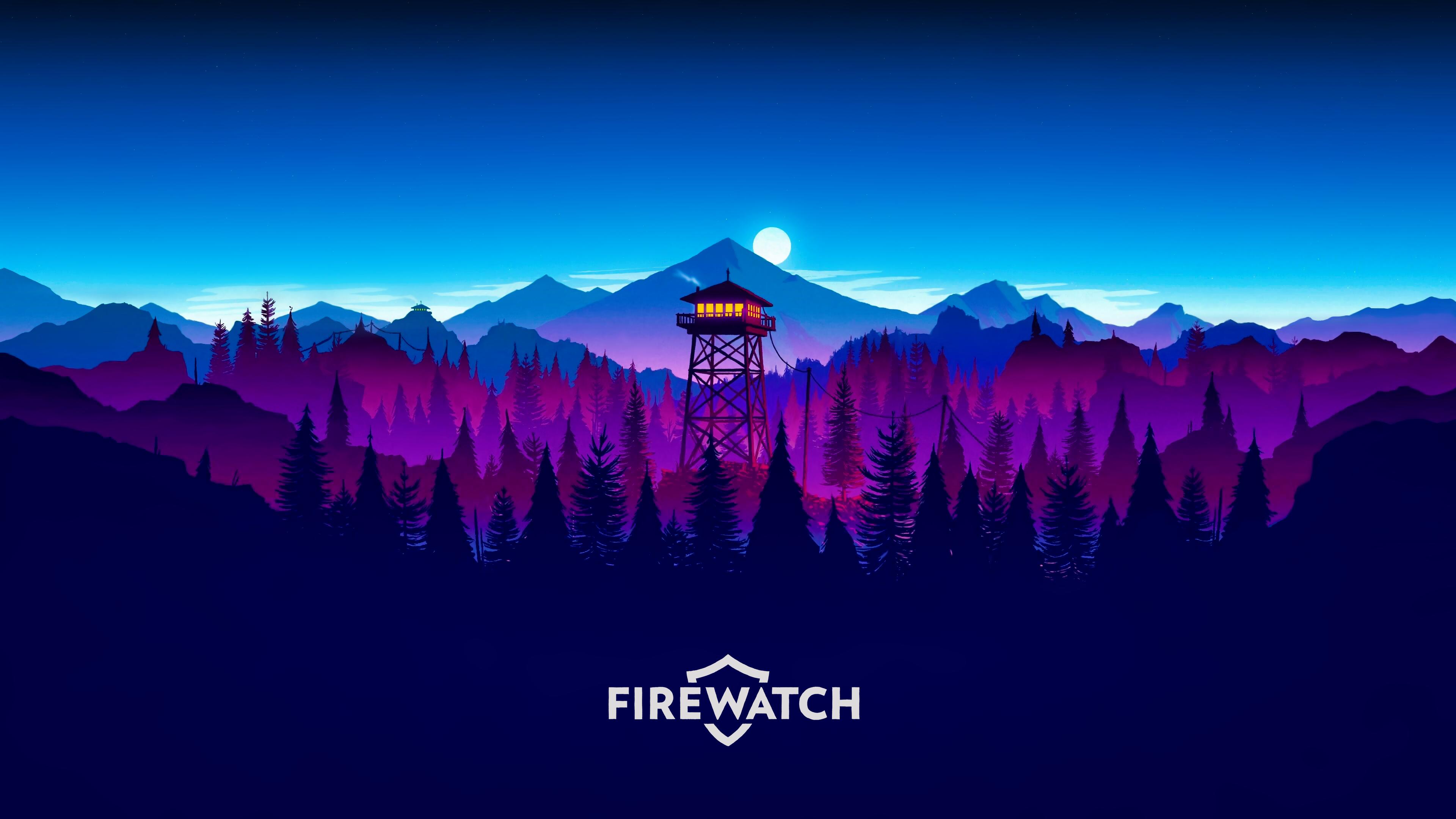 General 3840x2160 Firewatch video games forest nature landscape mountains sunset pine trees artwork digital art illustration Olly Moss Gamer