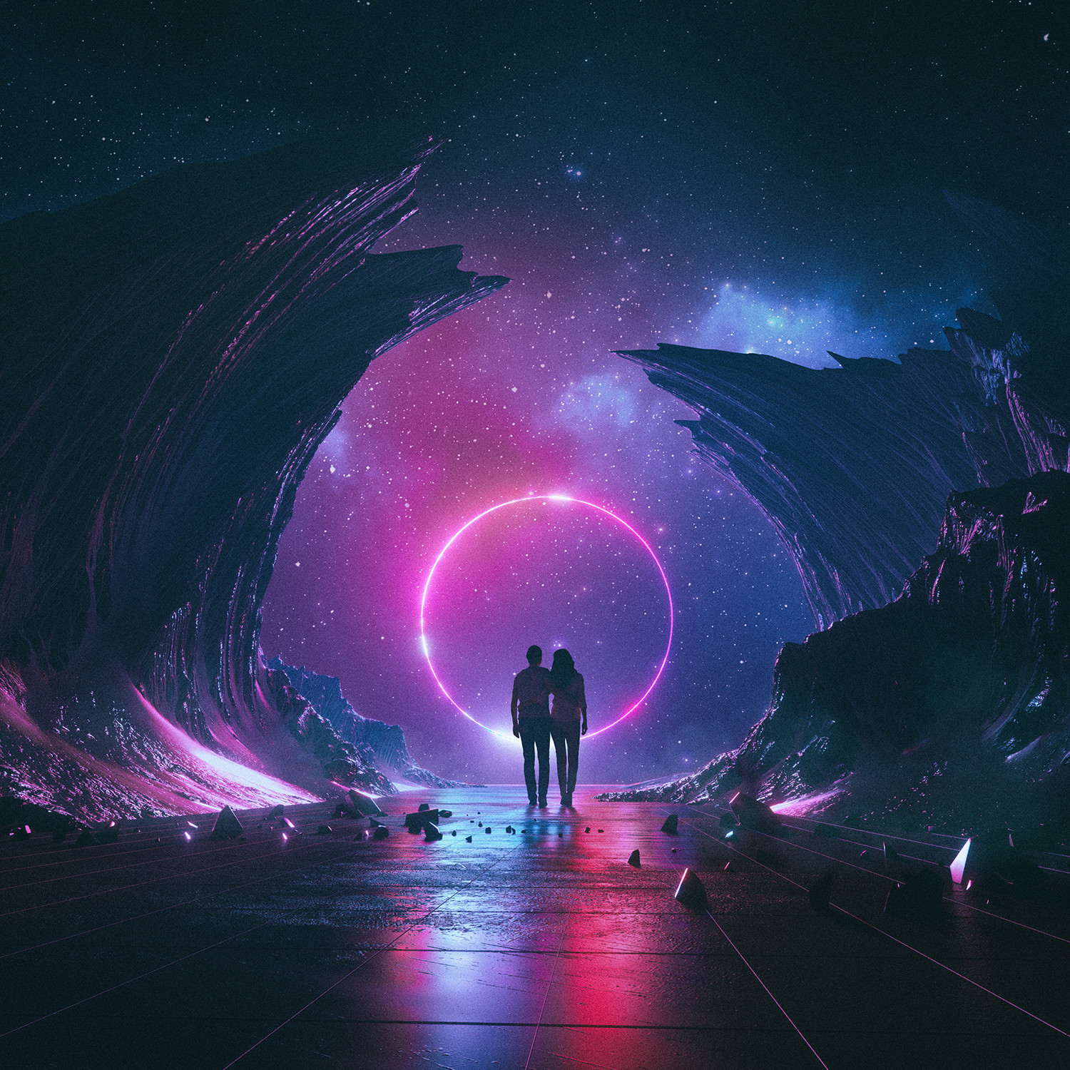 General 1500x1500 beeple digital art 3D neon ravine couple stars mountains men women space circle ground rocks