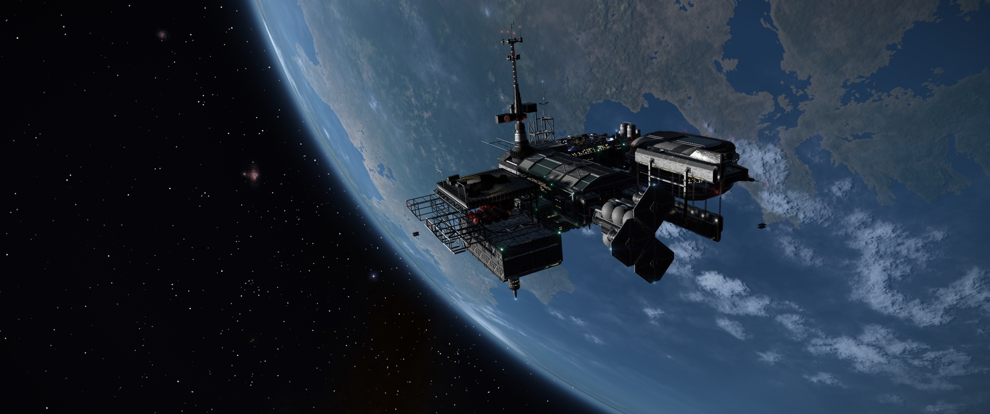 General 3440x1440 space Orbital Stations Earth