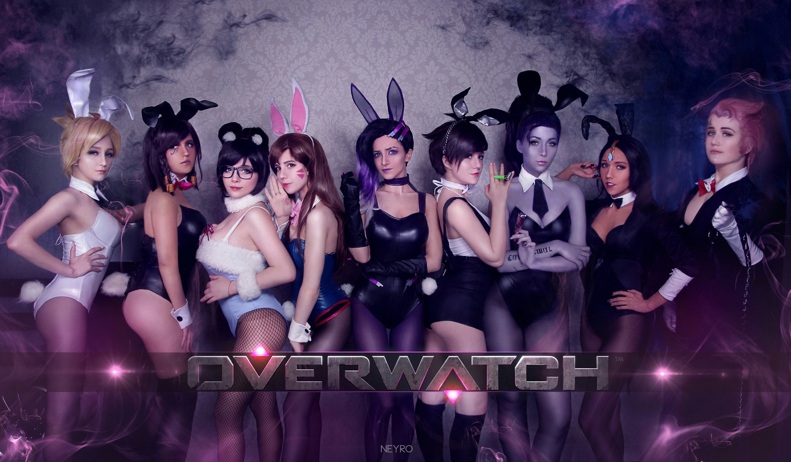 People 2560x1496 Overwatch Anniversary Combat Medic Ziegler Witch Mercy Mercy Pharah (Overwatch) Mei (Overwatch) D.Va (Overwatch) Sombra (Overwatch) Tracer (Overwatch) Widowmaker (Overwatch) Symmetra (Overwatch) Zarya (Overwatch) Mercy (Overwatch) Overwatch black pantyhose bunny suit tights cosplay