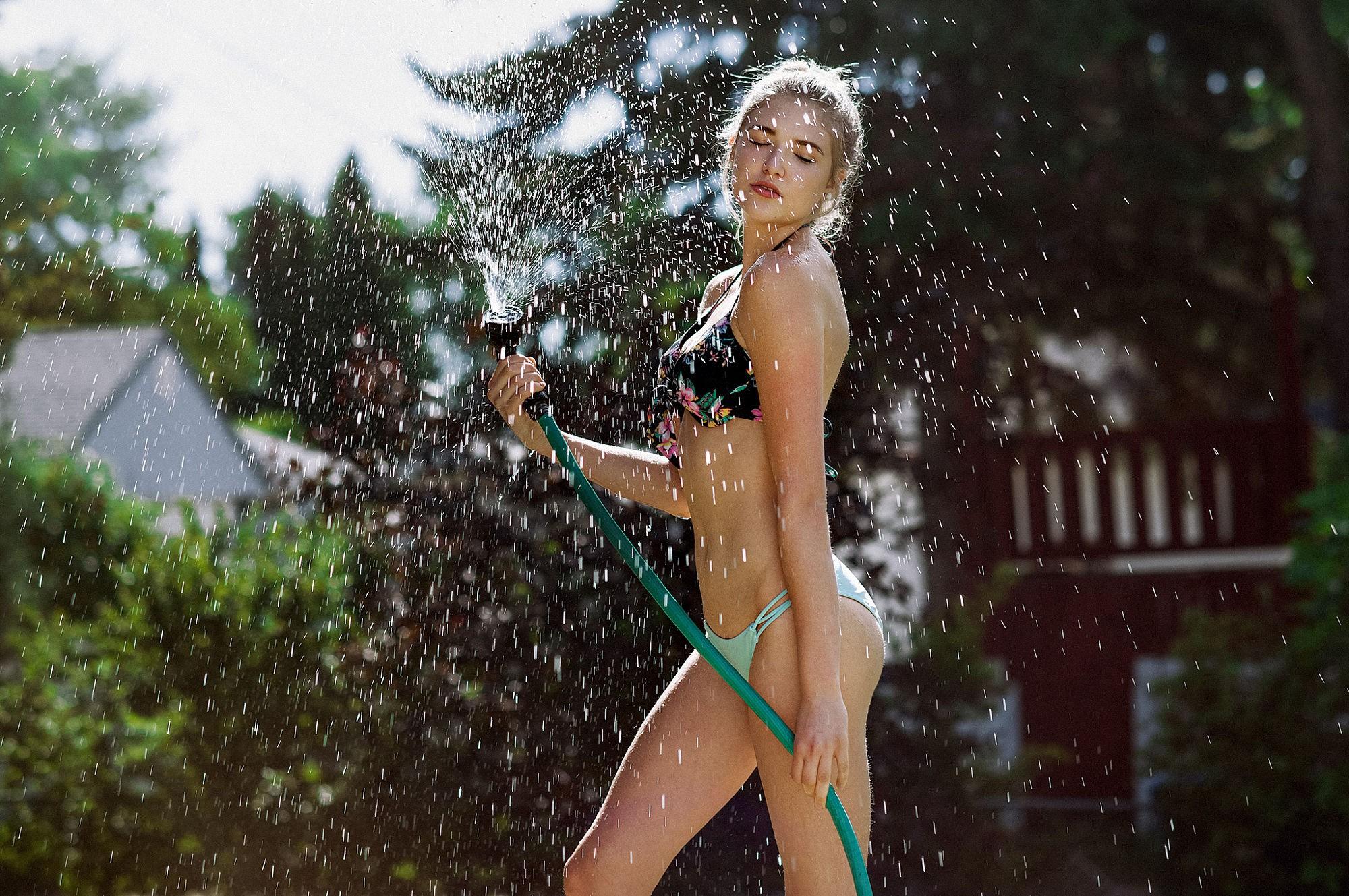 People 2000x1329 watering splashes water splash women closed eyes model blonde depth of field summer bikini wet body wet hair