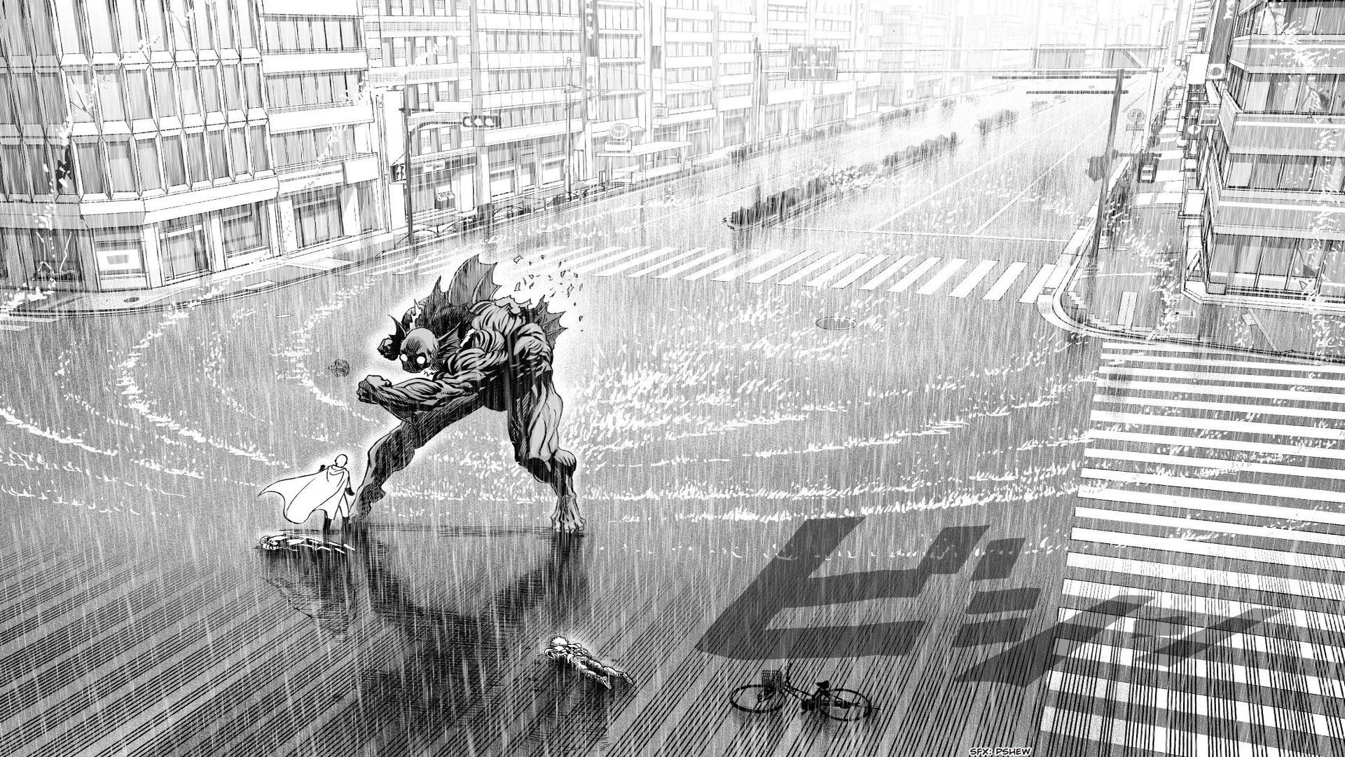 Anime 1920x1080 One-Punch Man manga anime monochrome