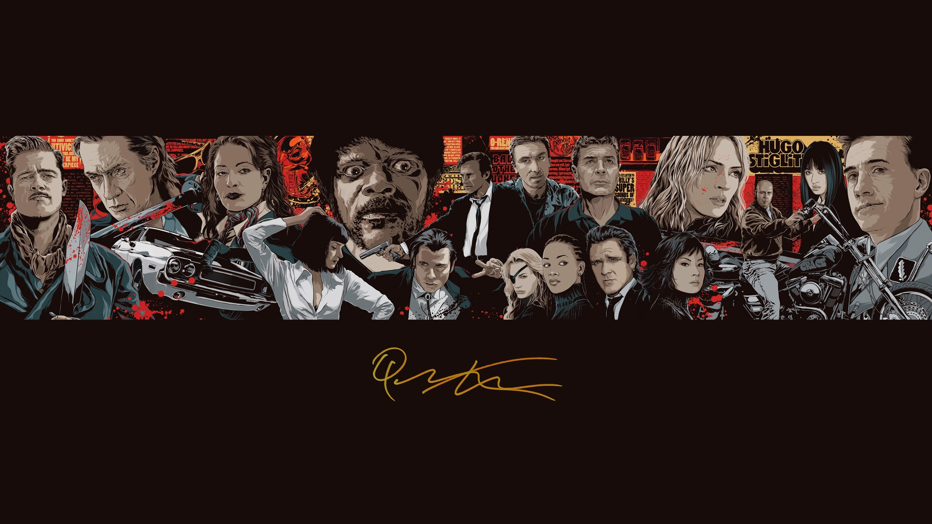 General 1920x1080 Quentin Tarantino movies Inglourious Basterds Pulp Fiction Kill Bill Reservoir Dogs Samuel L. Jackson Brad Pitt John Travolta Uma Thurman Bruce Willis car artwork fan art Vincent Vega Jules Winnfield Gogo Yubari signatures Daryl Hannah Lucy Liu Jackie Brown Michael Madsen Harvey Keitel