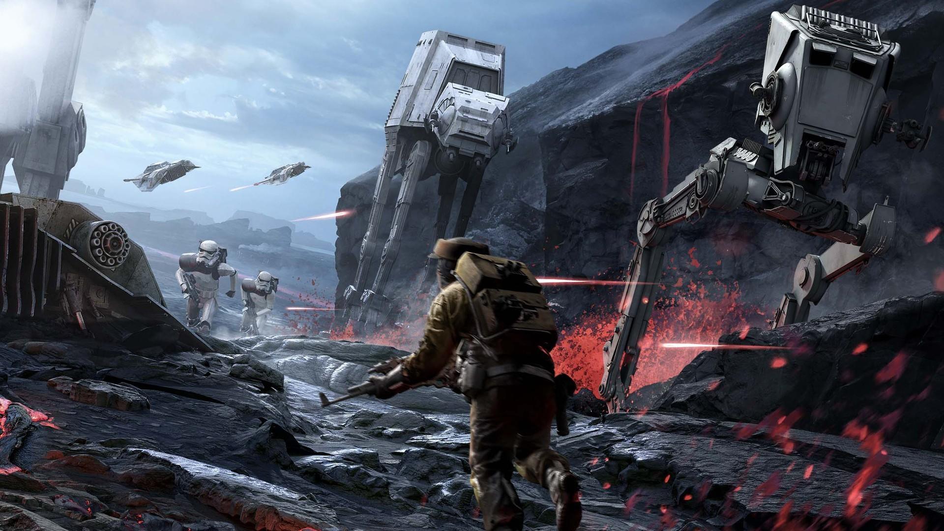 General 1920x1080 Star Wars video games science fiction Star Wars: Battlefront video game art AT-AT AT-ST battle