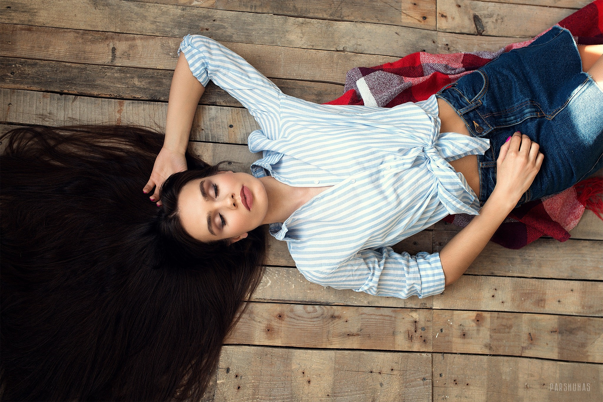 People 2048x1367 Anton Parshunas women model long hair brunette closed eyes lying down shirt Tied top