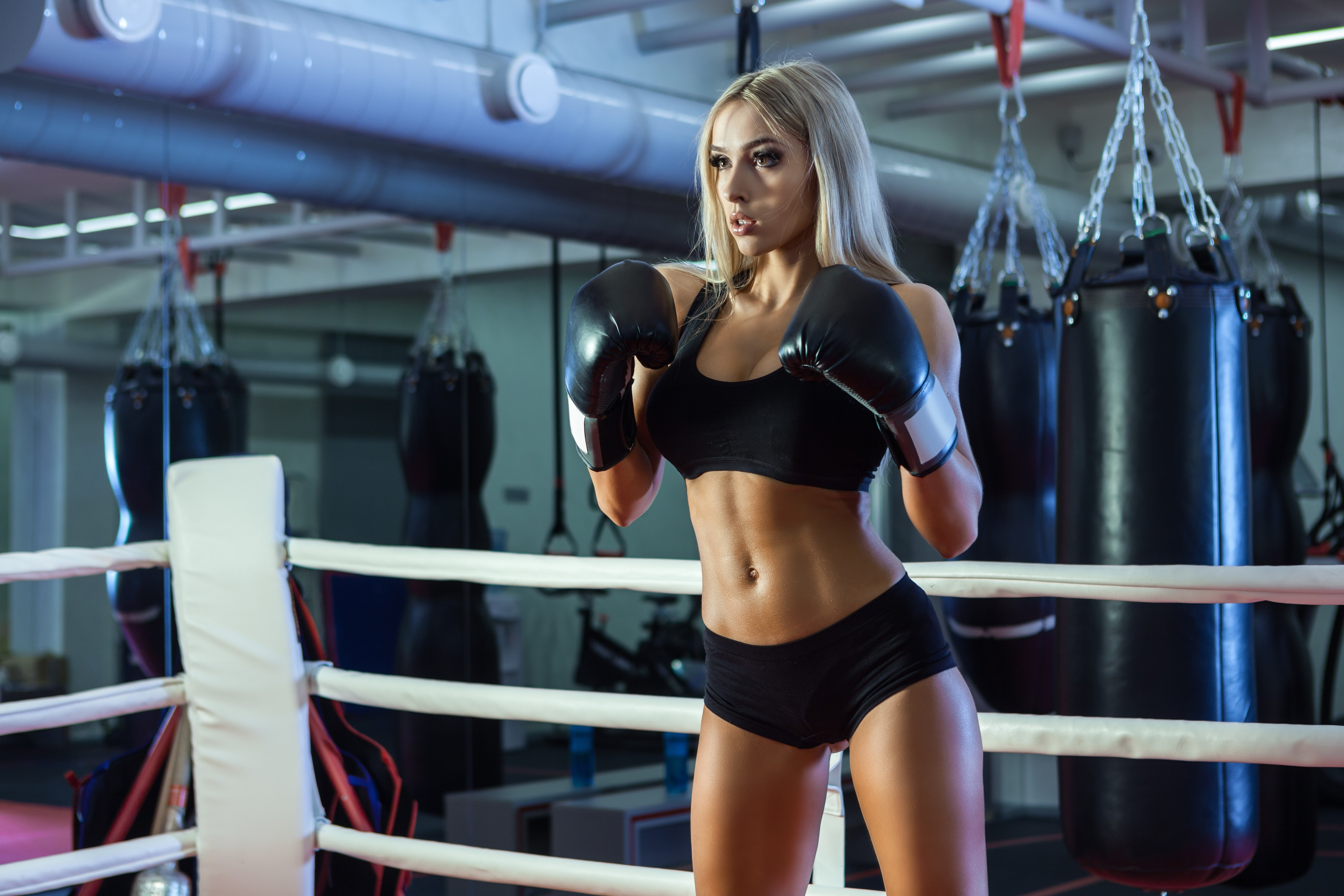 People 5616x3744 boxing gloves boxing blonde sport  sports women Stas Tolstnev Nastya Ferz curvy long hair sport bras black gloves gloves fitness model