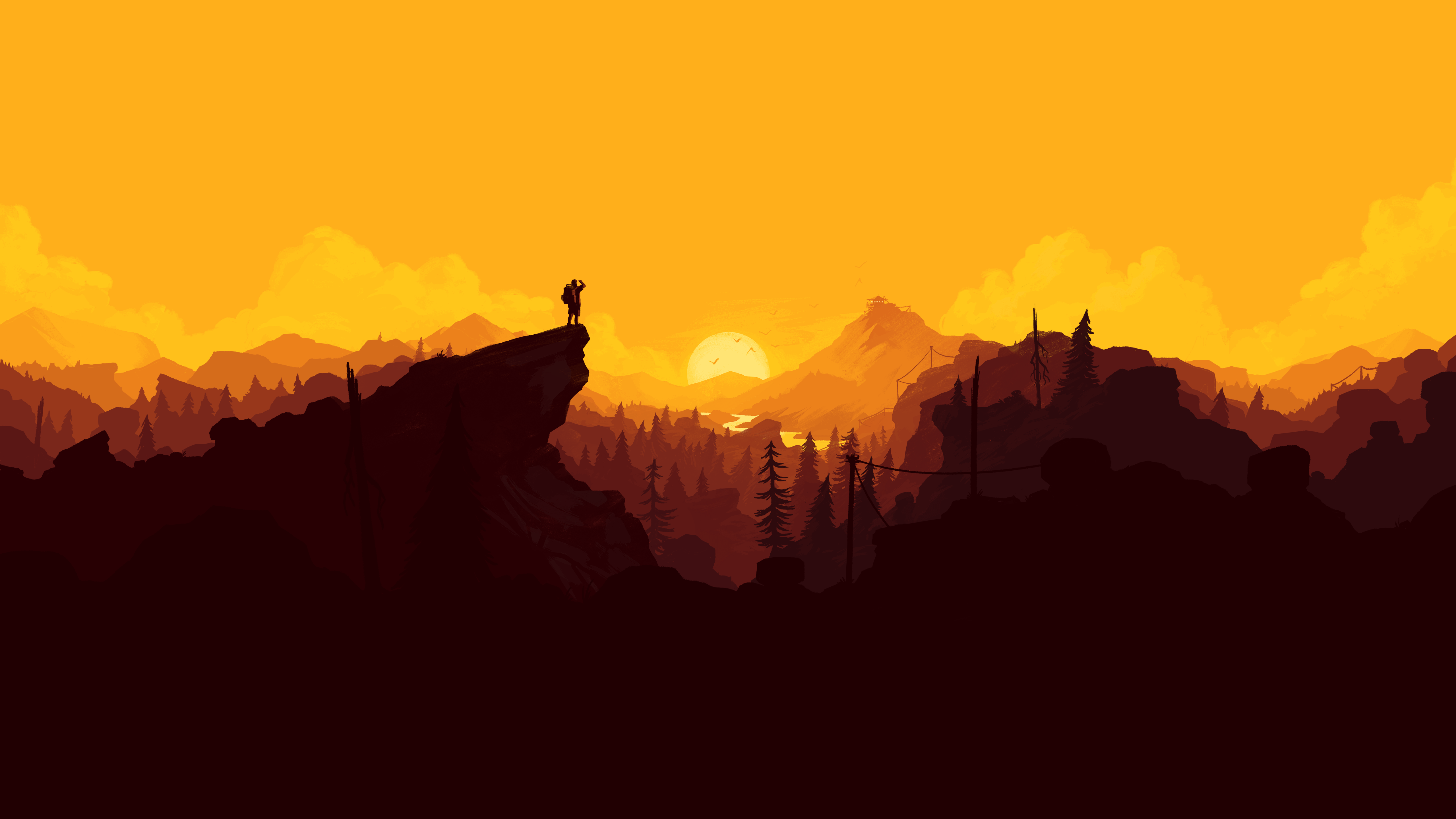 General 5120x2880 fantasy art Firewatch Olly Moss looking into the distance video game art video games