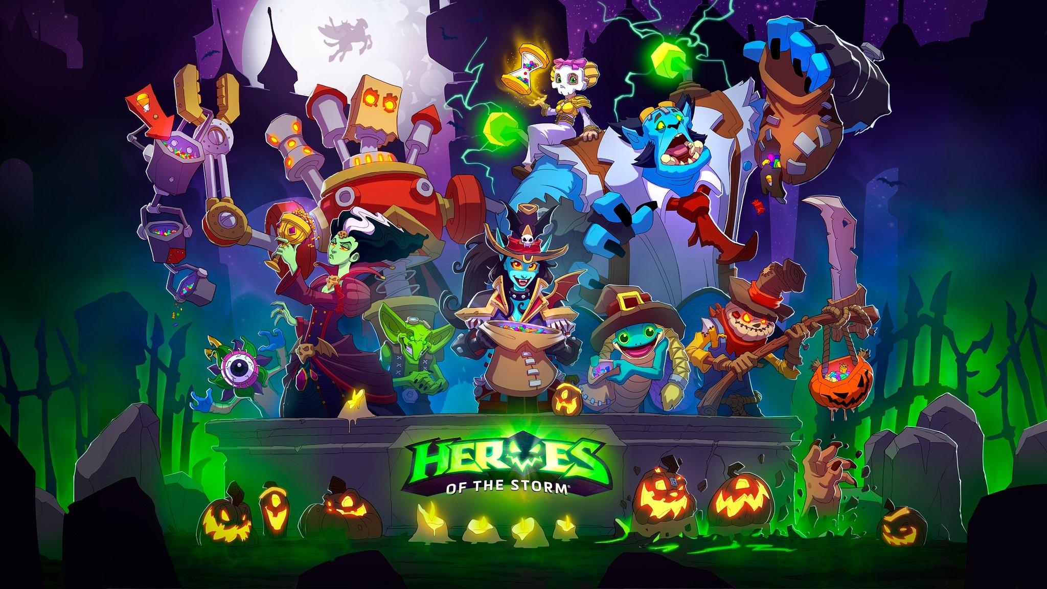 General 2048x1152 video games heroes of the storm Halloween Warcraft Diablo cartoon artwork digital art spooky pumpkin