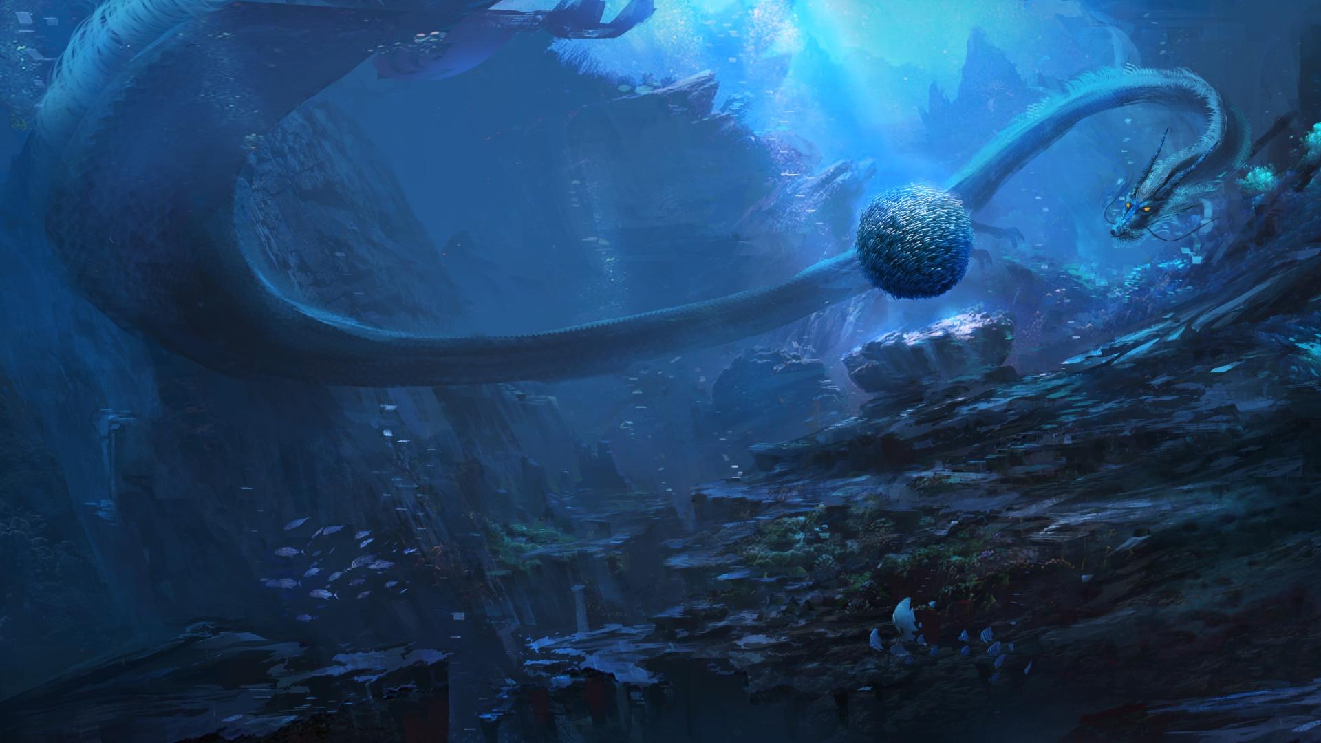 General 1920x1080 digital art underwater fantasy art Sea Serpent