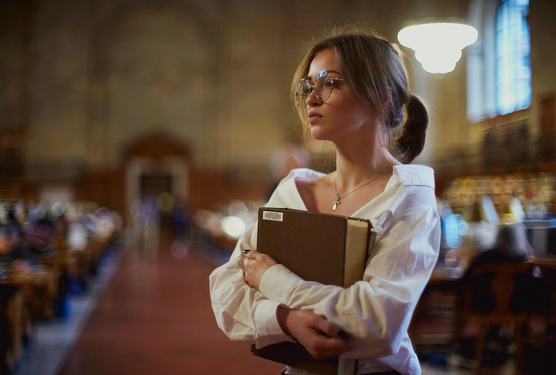 People 1776x1200 women brunette ponytail white shirt women with glasses no bra standing library books bokeh face Alexey Pedan Anna Vorobyeva