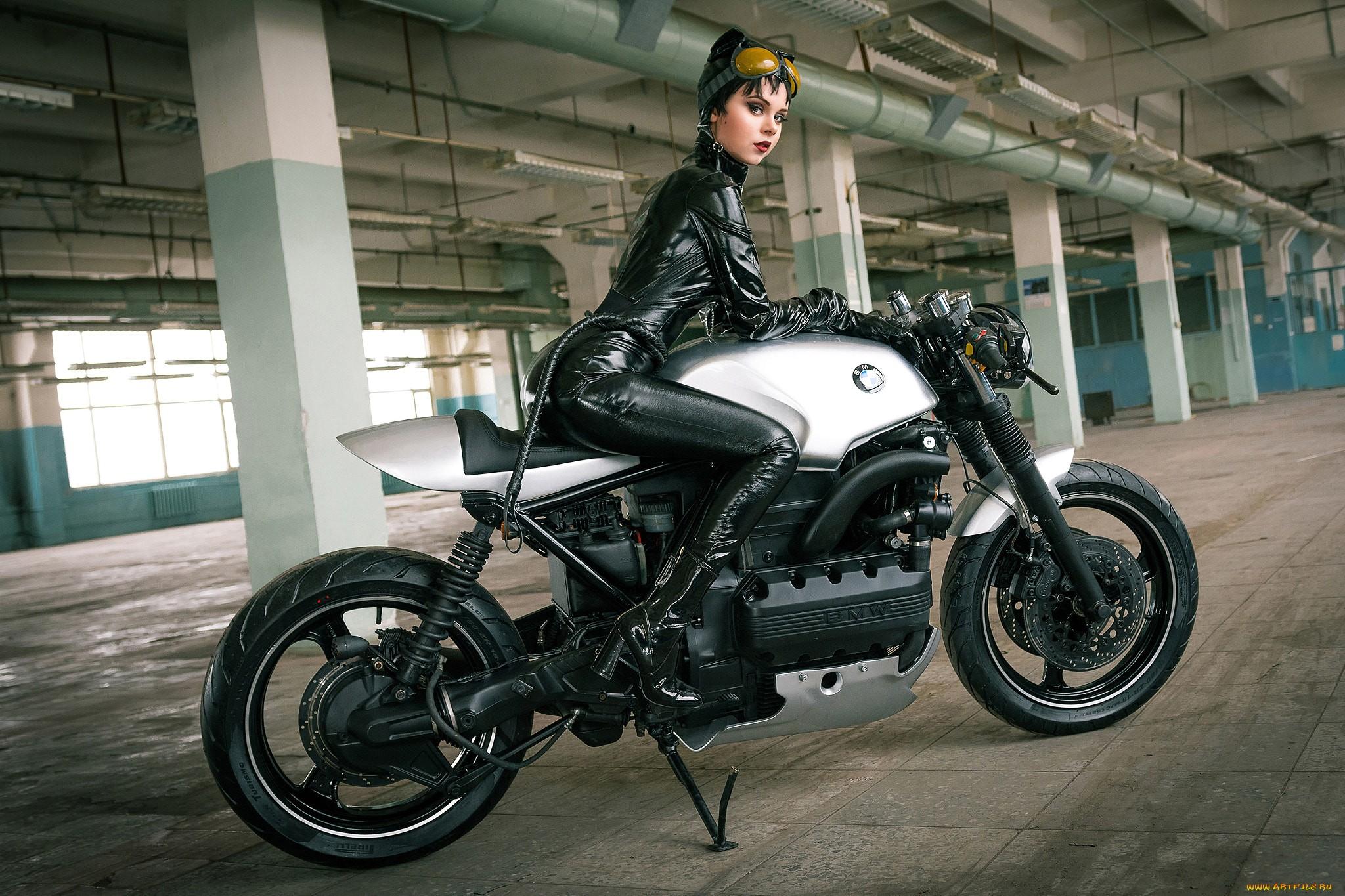 People 2048x1365 women with bikes motorcycle leather latex women BMW Catwoman cosplay bodysuit Pirelli