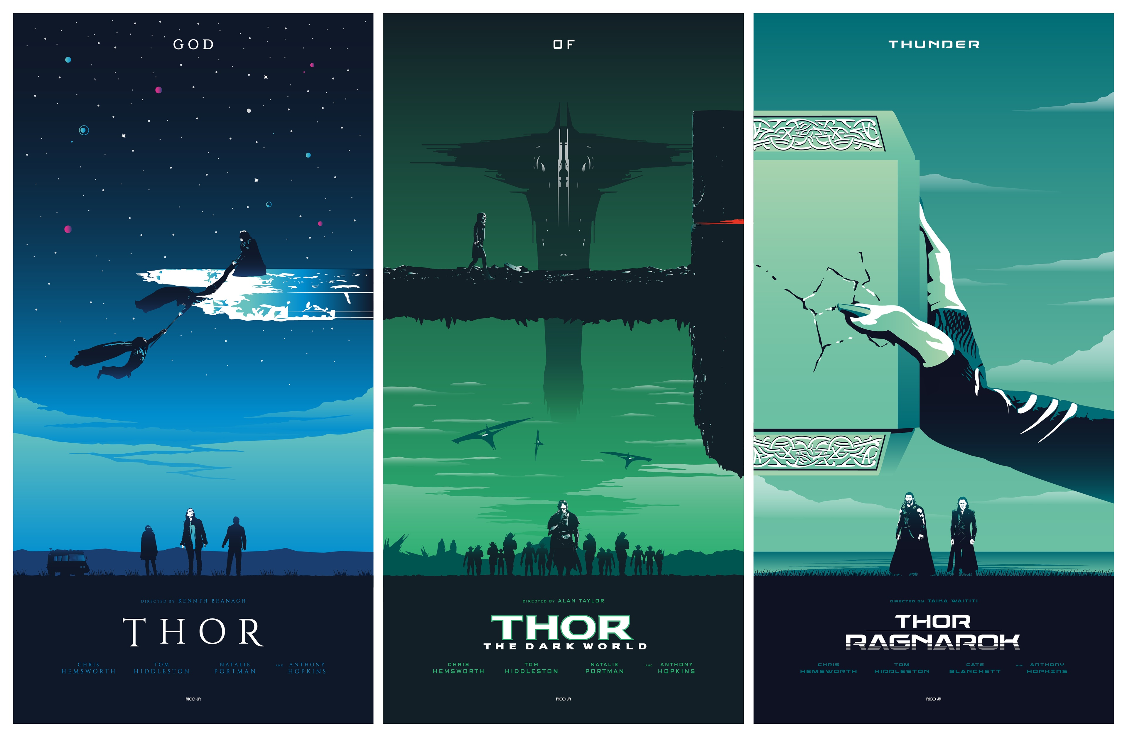 General 3840x2509 Thor movies poster movie poster Marvel Comics Marvel Cinematic Universe Thor : Ragnarok Mjolnir Loki Malekith Ragnarok Hela  collage blue green cyan