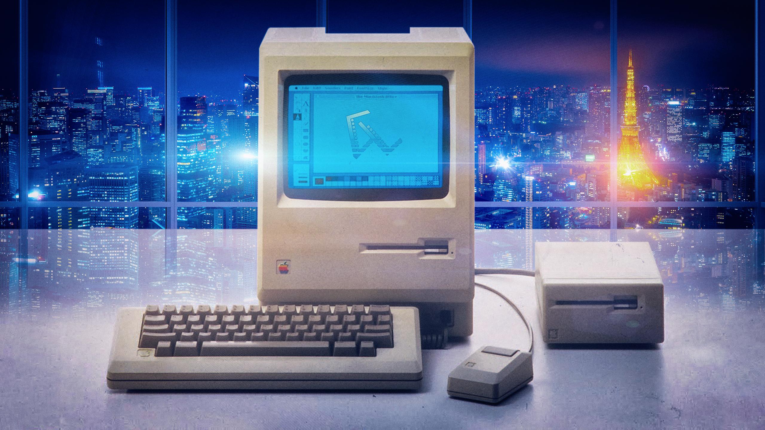 General 2560x1440 vaporwave Macintosh Tokyo Tower Tokyo lens flare lights Apple Inc. nostalgia
