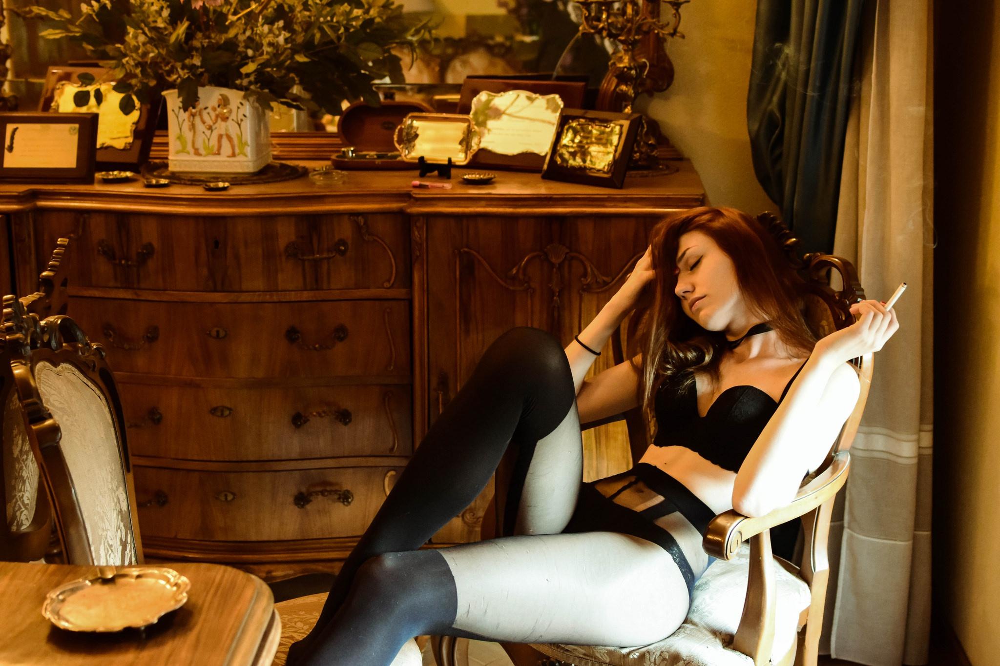 People 2048x1365 legs women smoking cigarettes model black lingerie pantyhose