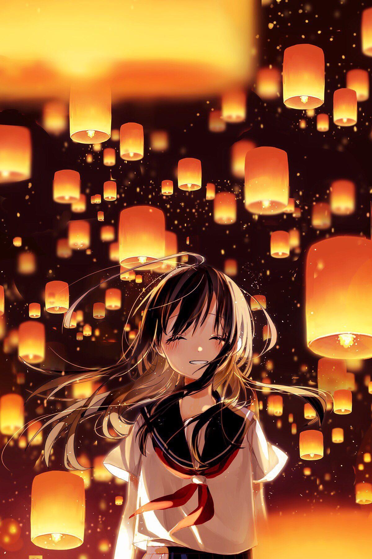 Anime 1200x1800 anime sailor uniform lantern smiling blushing lights night wind
